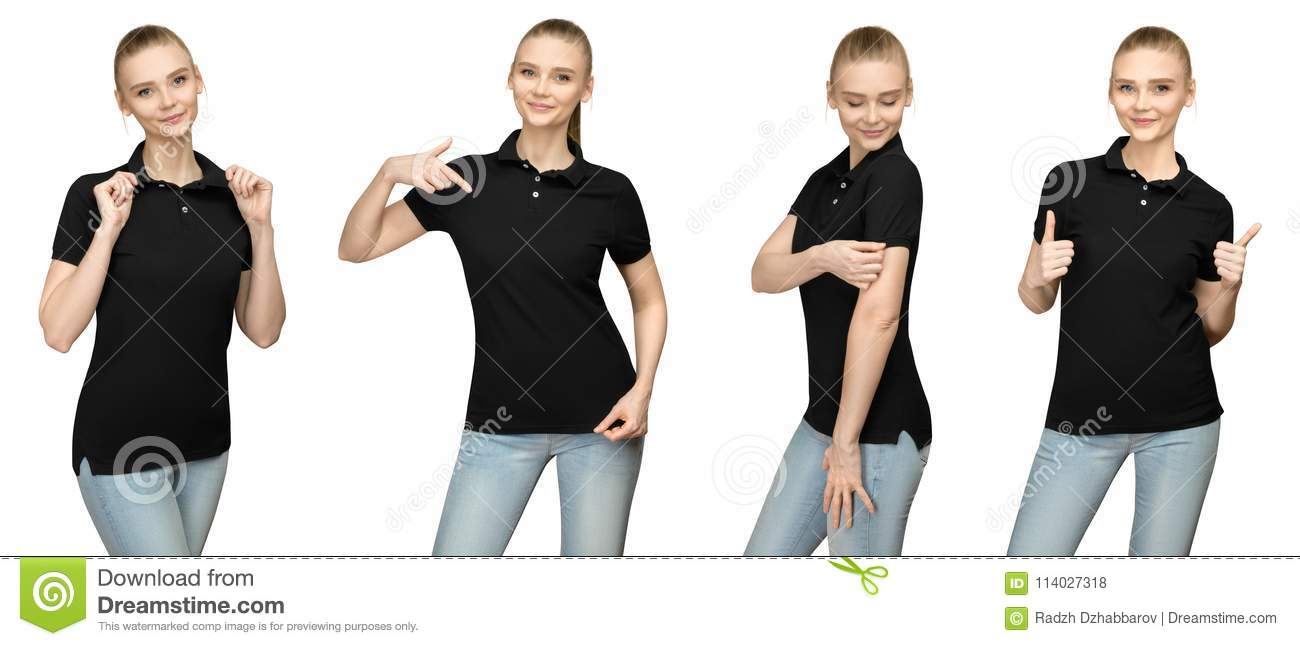 607779d8 Set variations promo pose girl in blank black polo shirt mockup design for  print and concept template young woman in T-shirt front and half turn side  view ...