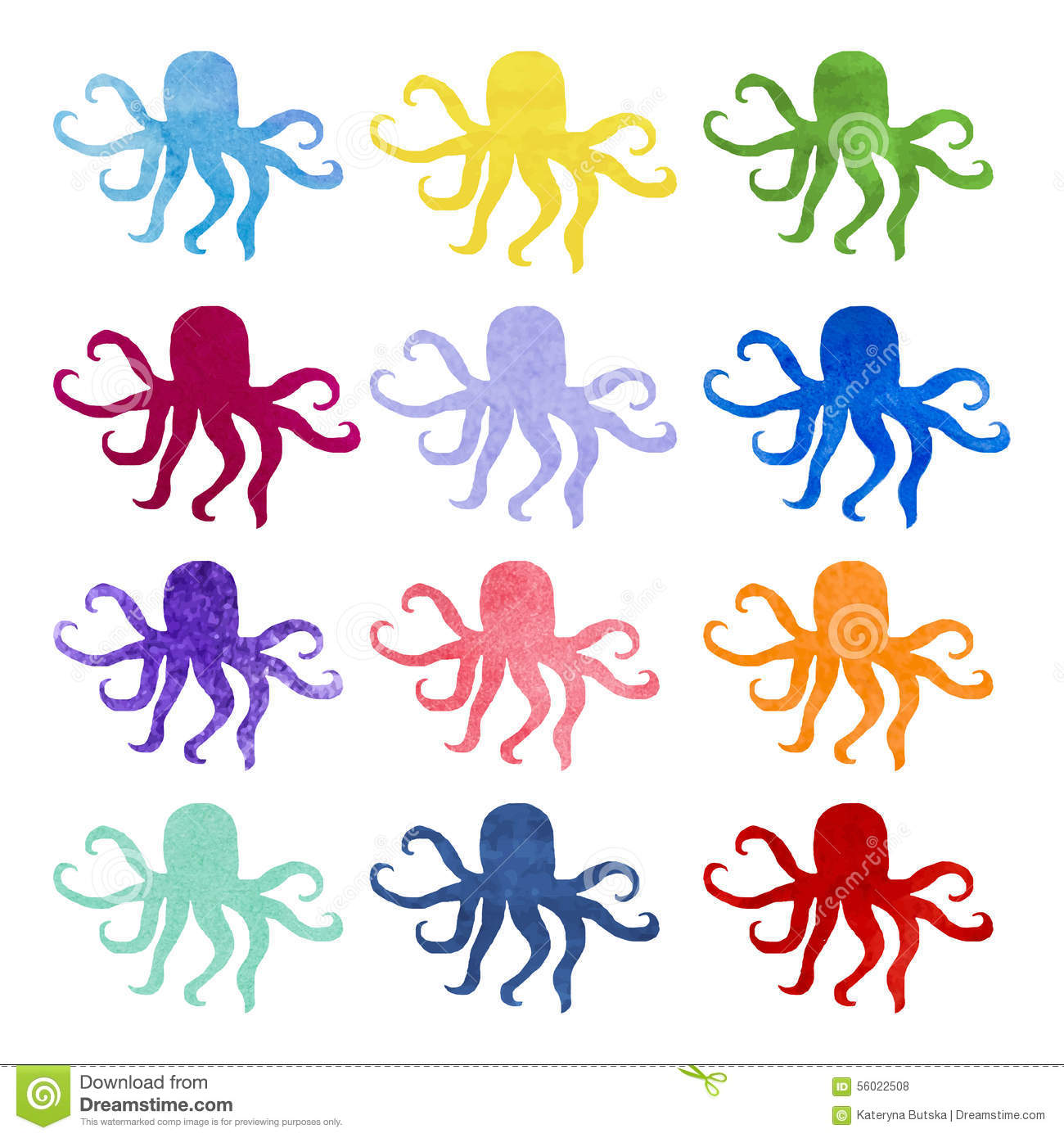 Set of varicolored watercolor hand drawn octopus