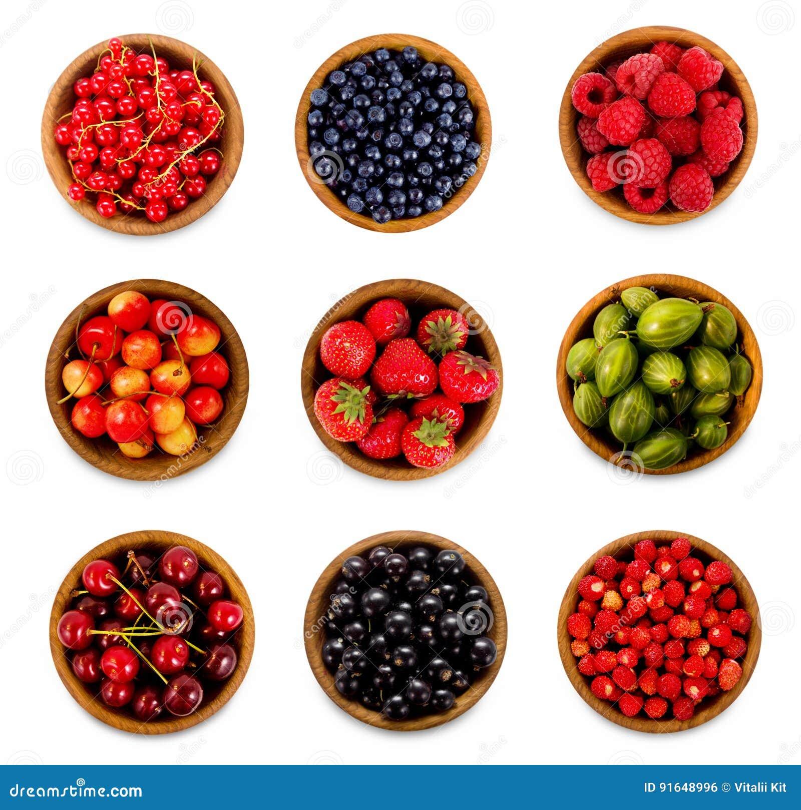 Set various berries. Strawberries, currant, cherry, raspberries, gooseberries and bilberry.