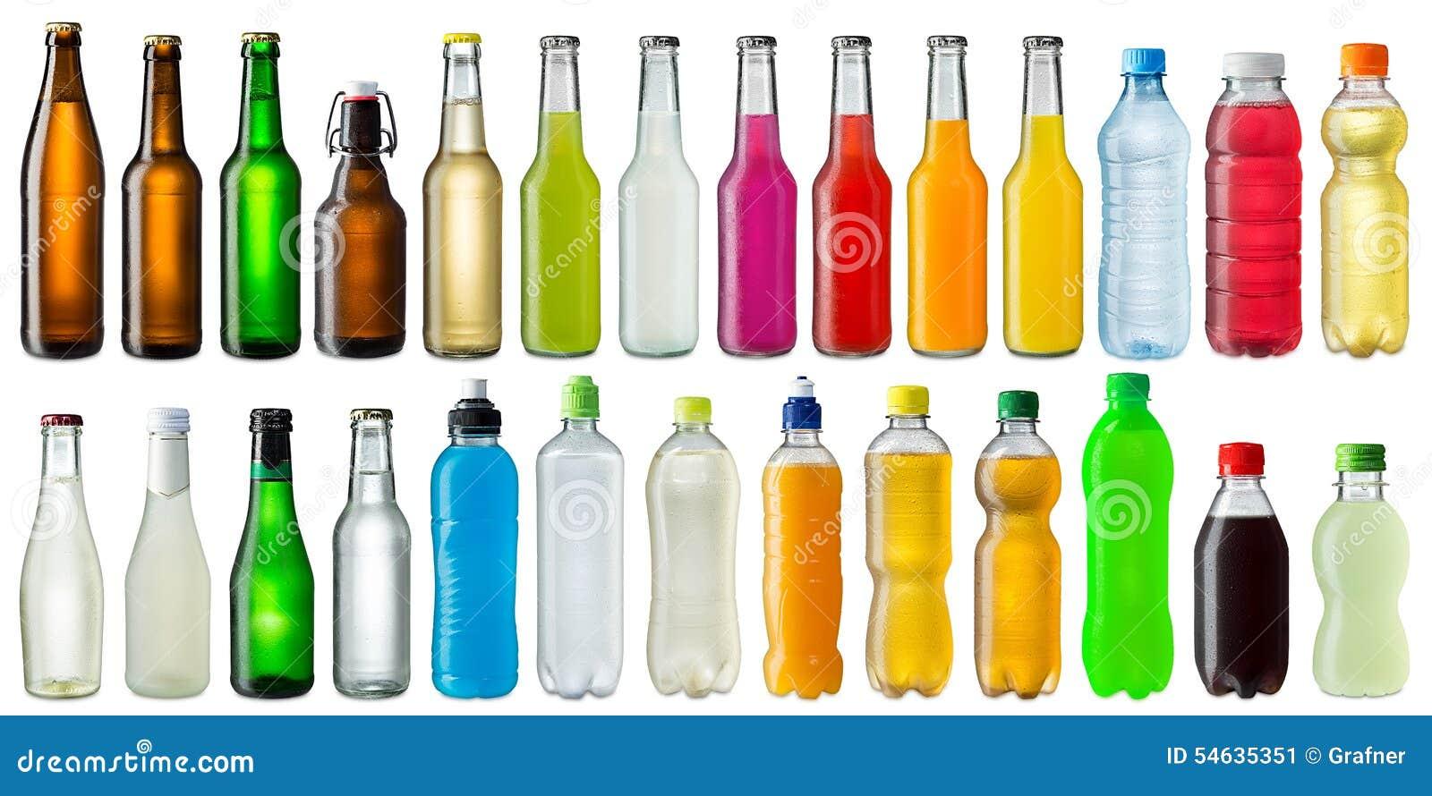 Set of various beverage bottles