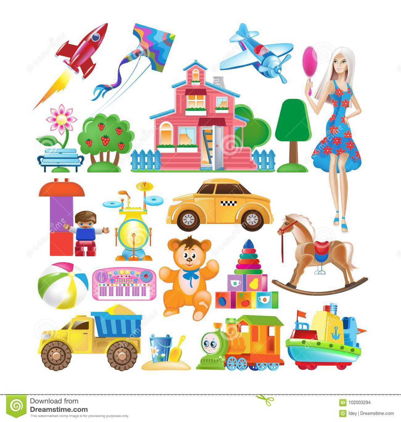 Set of various colorful children`s toys. Educational and sports games.