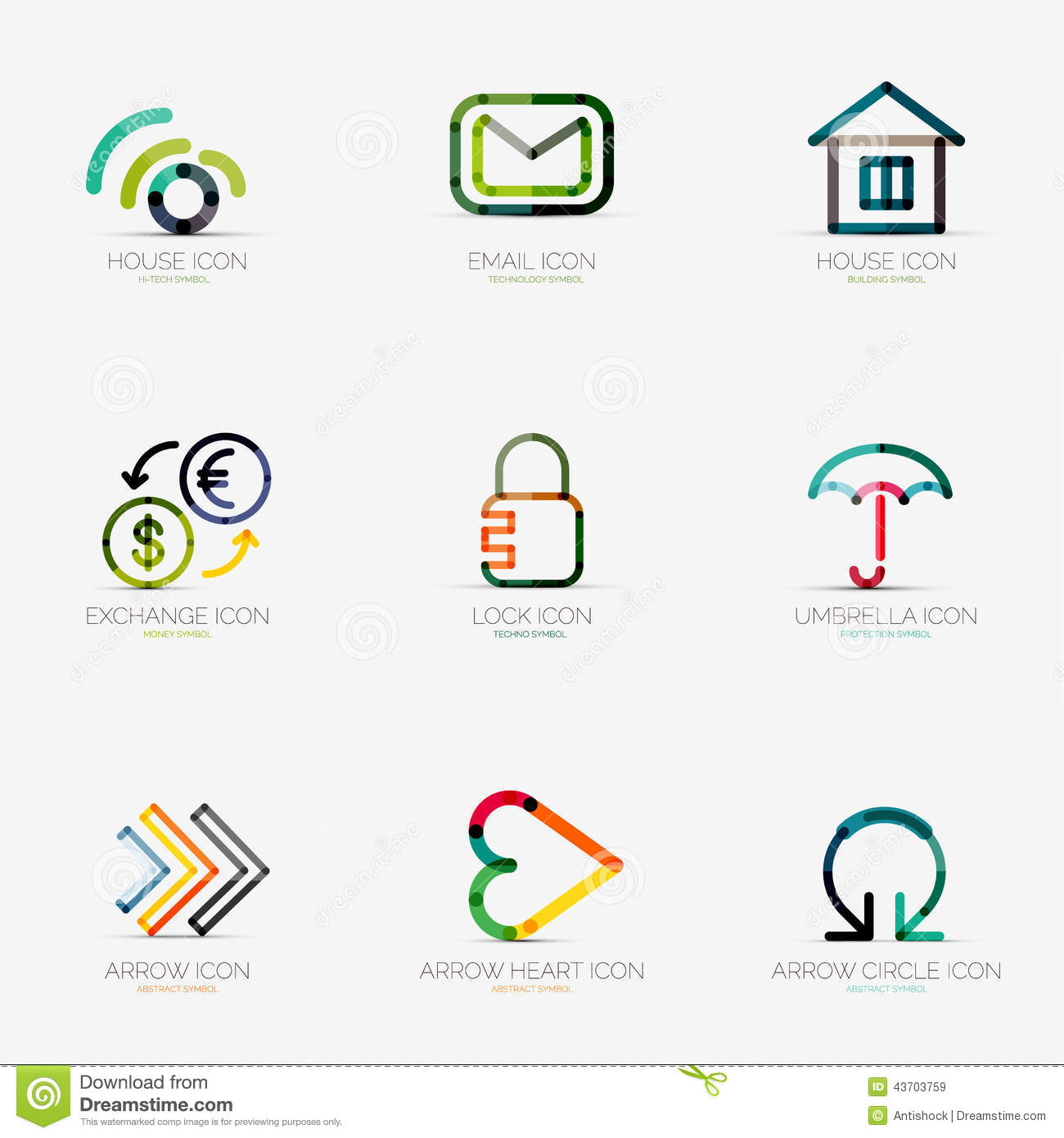 Set Of Various Company Logos, Business Icons Stock Vector - Image: 43703759