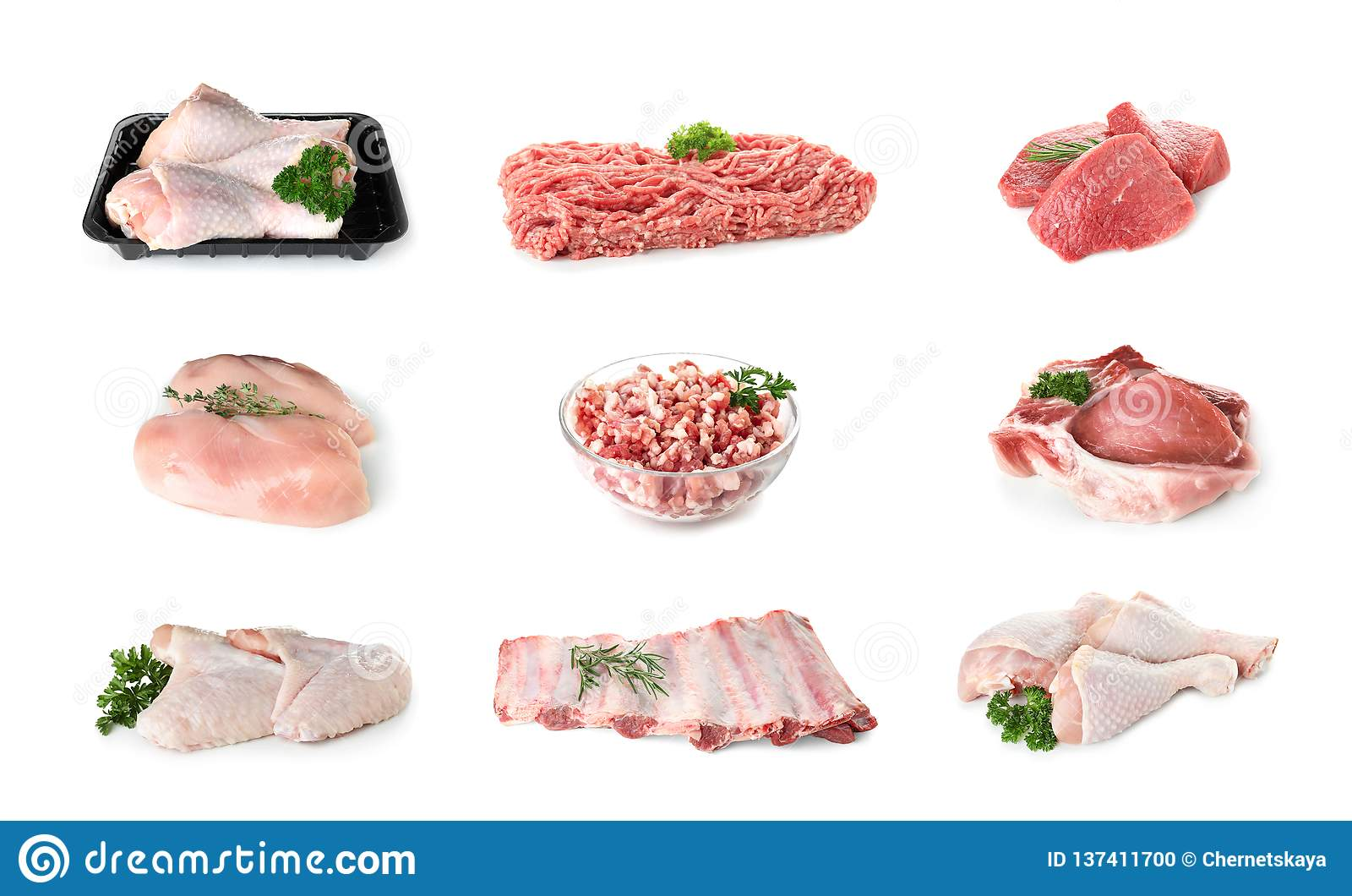 Set of various fresh raw meat