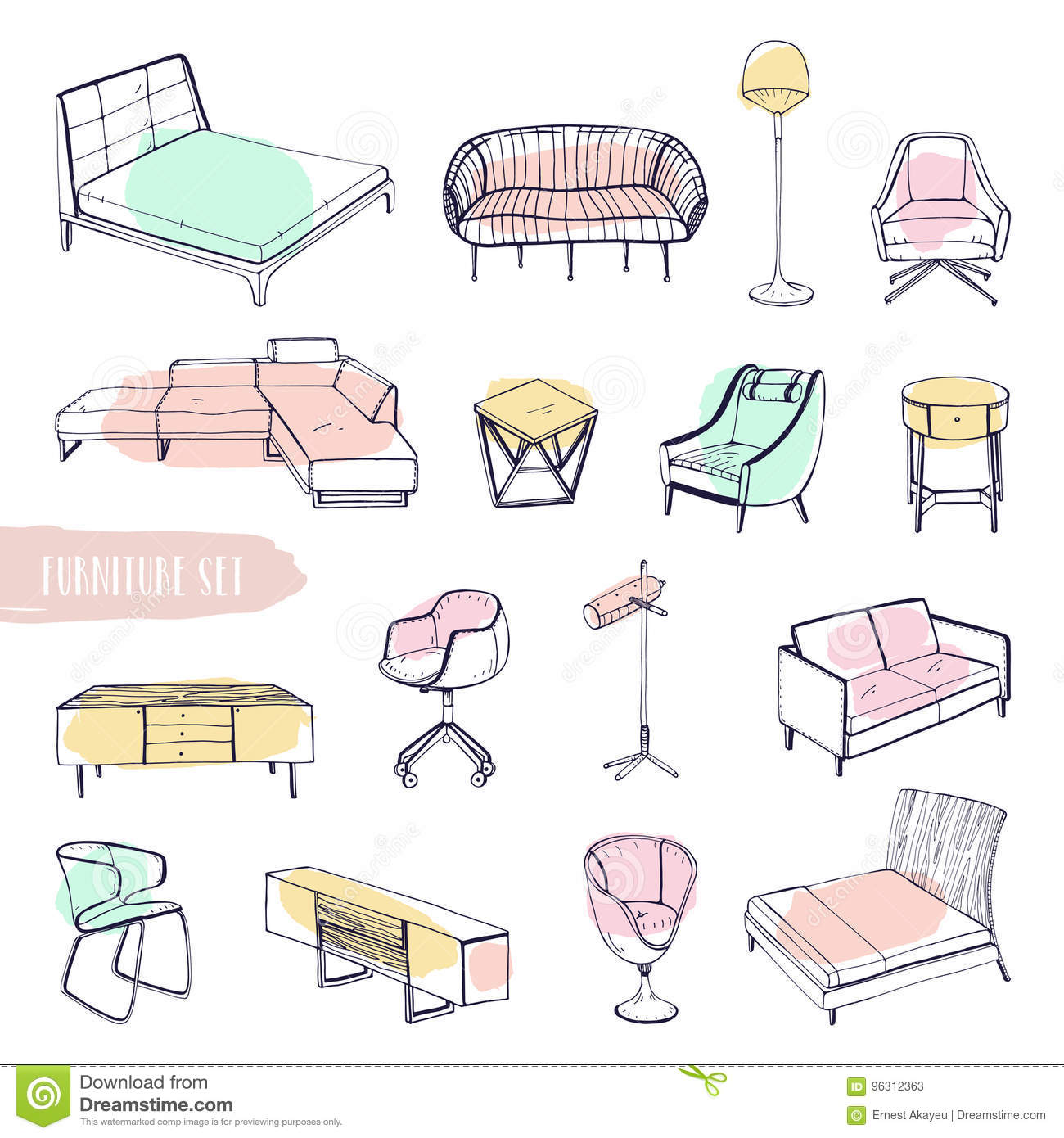 Different Types Of Sofa Sets: Set Of Various Furniture. Hand Drawn Different Types Sofas