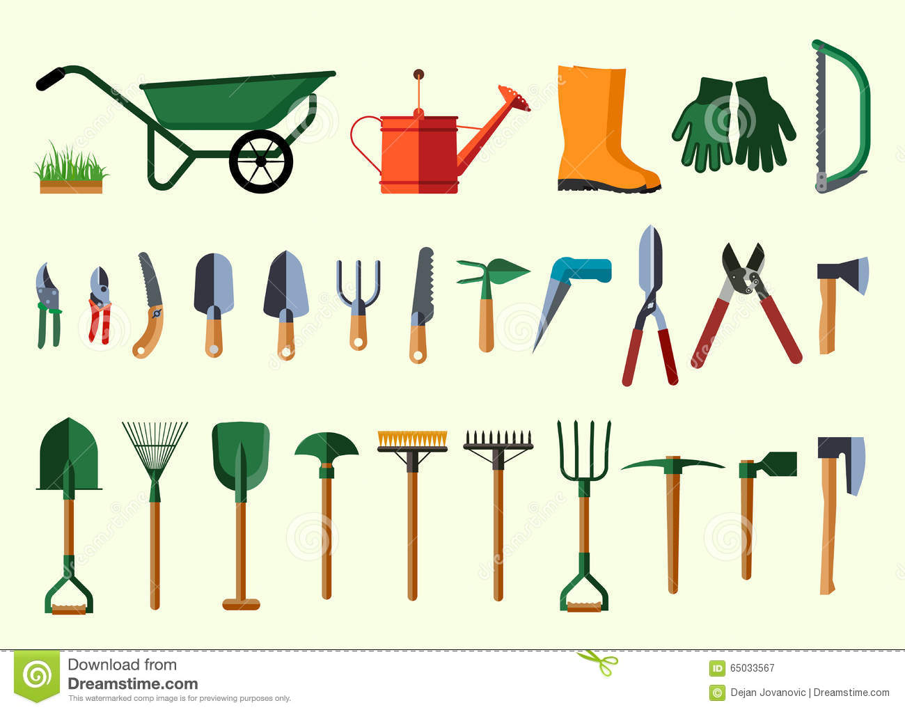 Set of various gardening items stock illustration image - Support pour outils de jardin ...