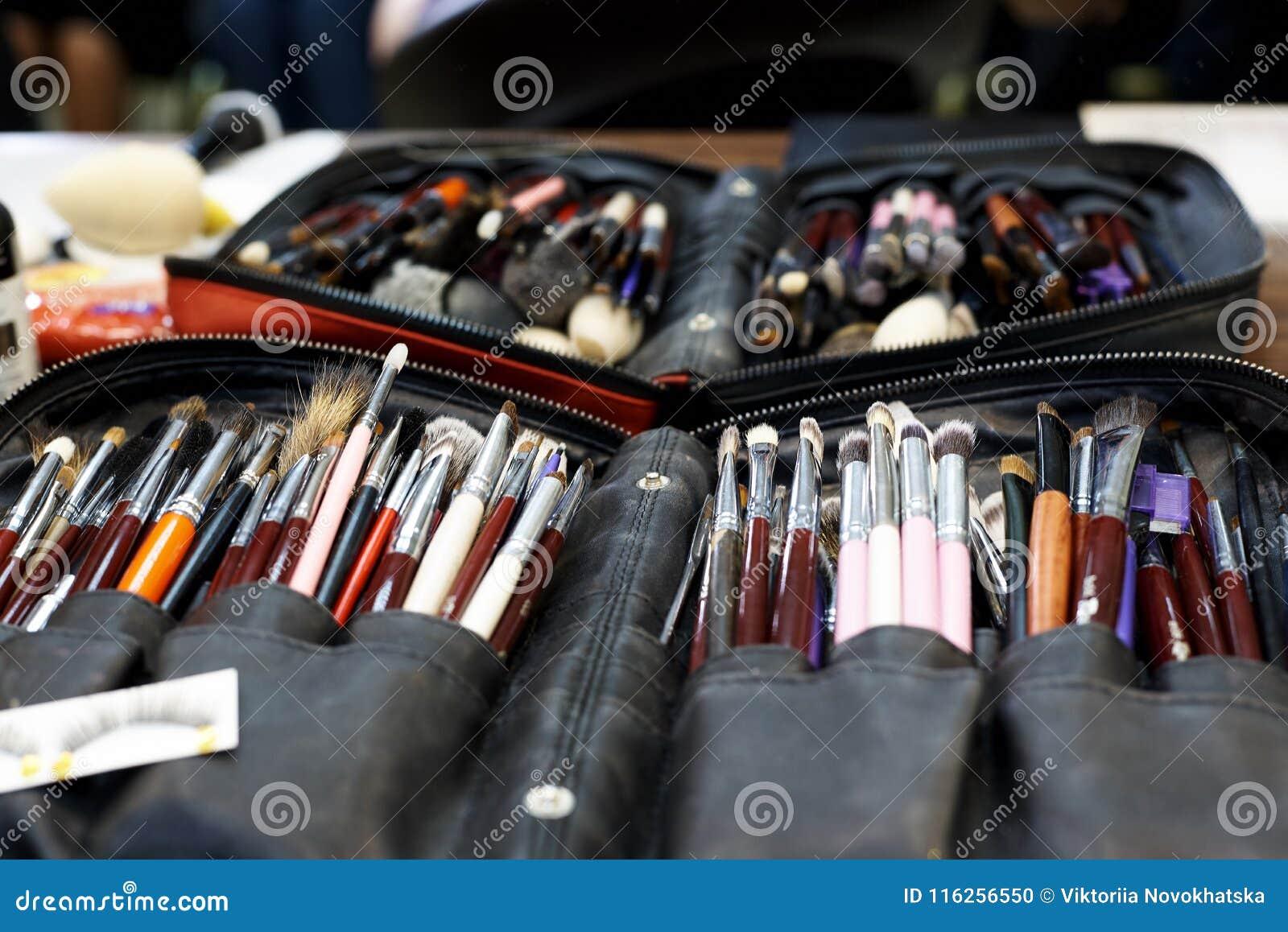 A set of various make-up brushes