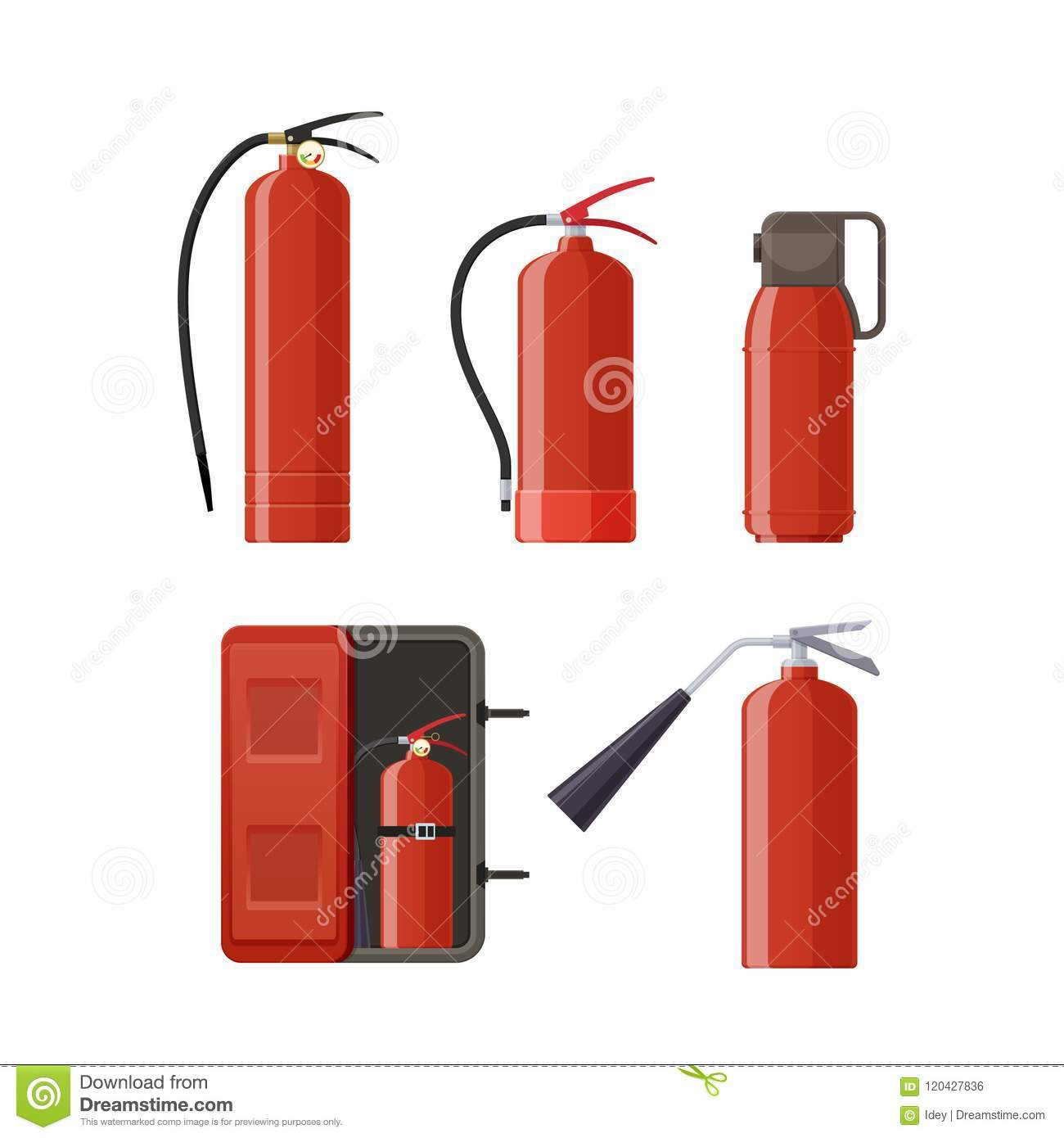 Set of various metal fire extinguishers, various forms, nozzles, hoses.