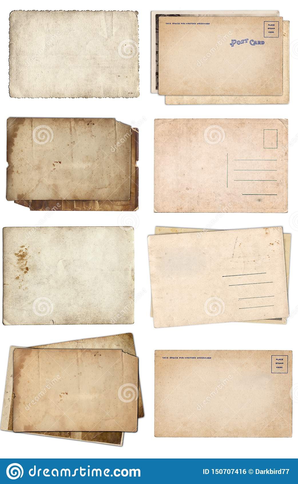 Set of various Old papers and postcards with scratches and stains texture isolated