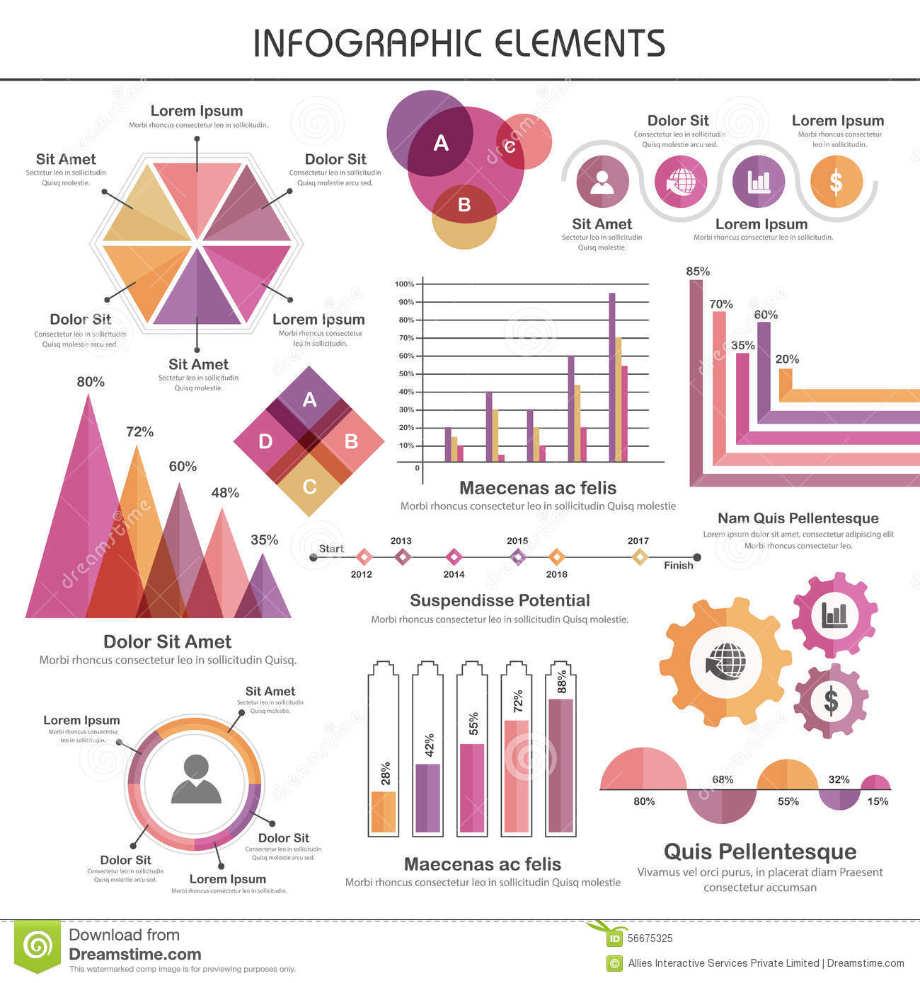 set of various statistical business infographic elements  stock illustration