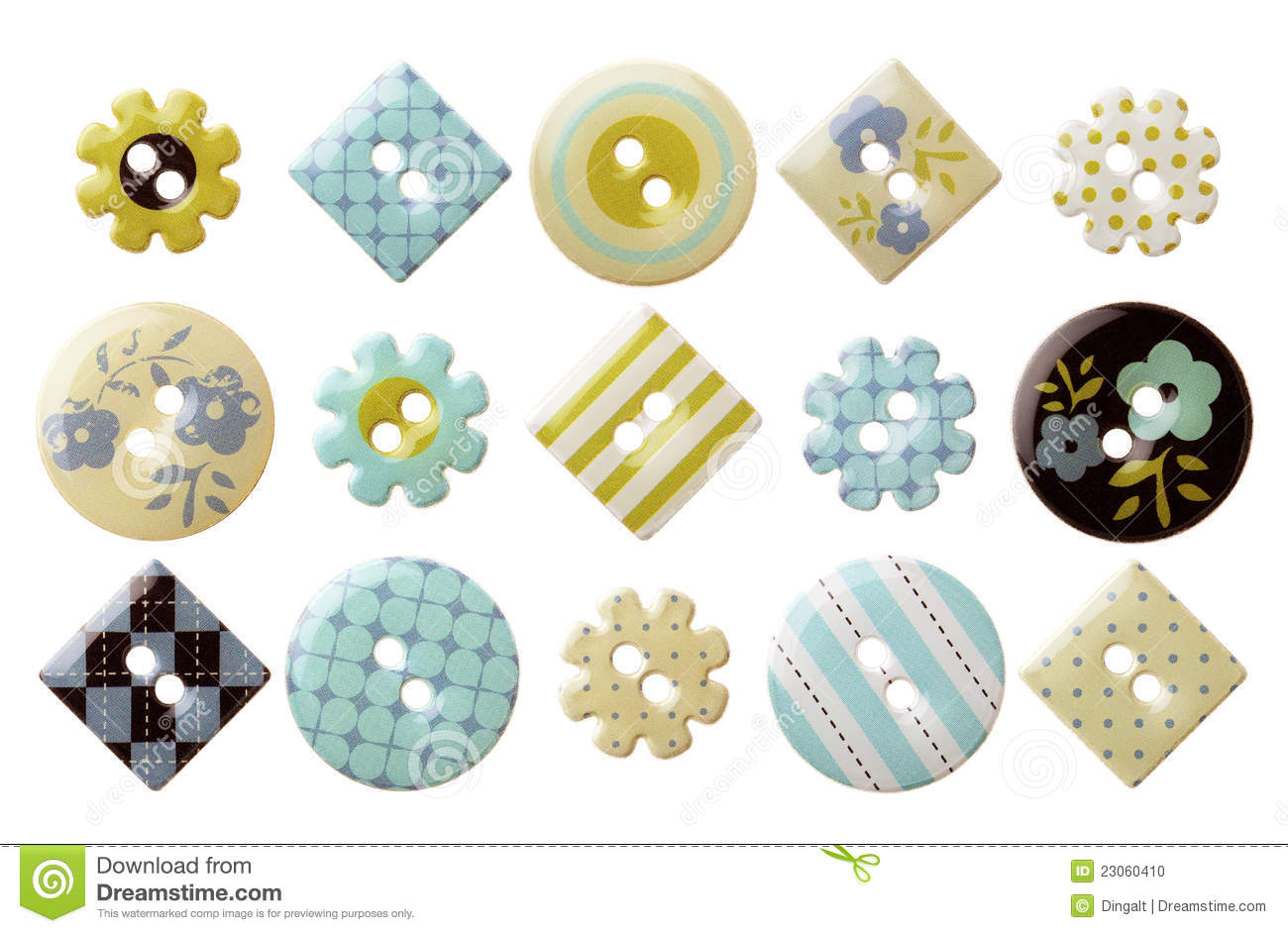 Set of various trendy sewing buttons
