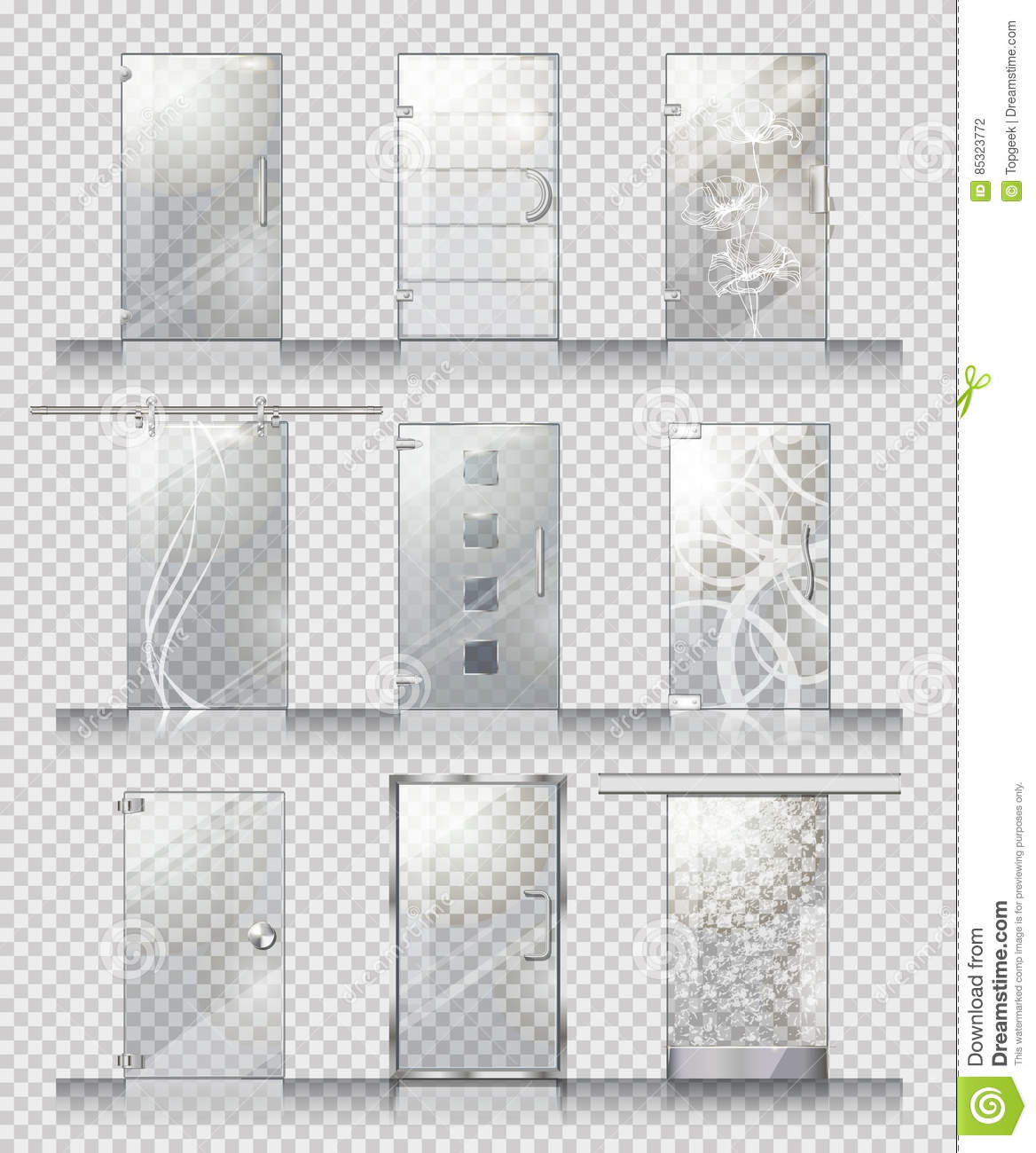 Set Of Various Types Of Contemporary Glass Doors Stock Vector