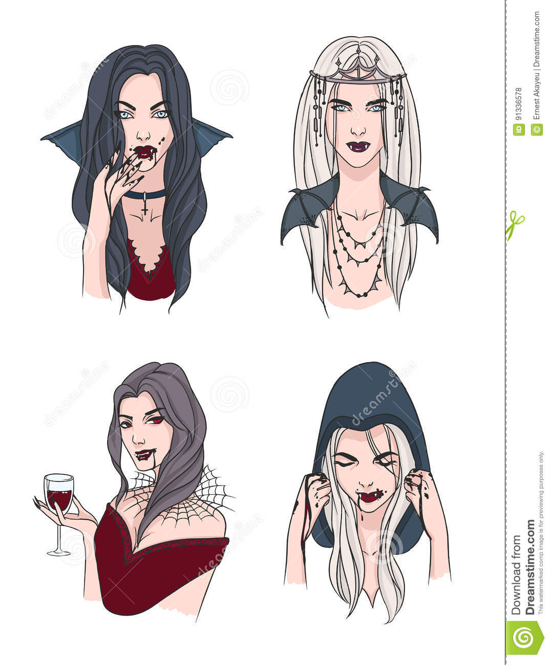 Download set of various vampire girl woman with fangs and blood collection stylish portrait