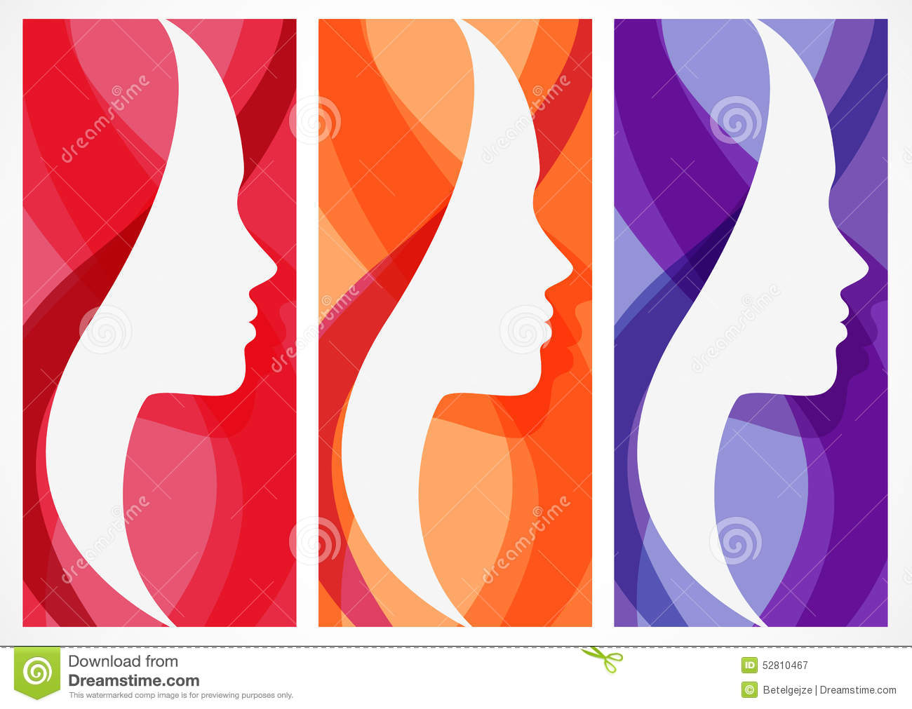 Set of vector abstract background with woman 39 s face for Abstract salon of the arts