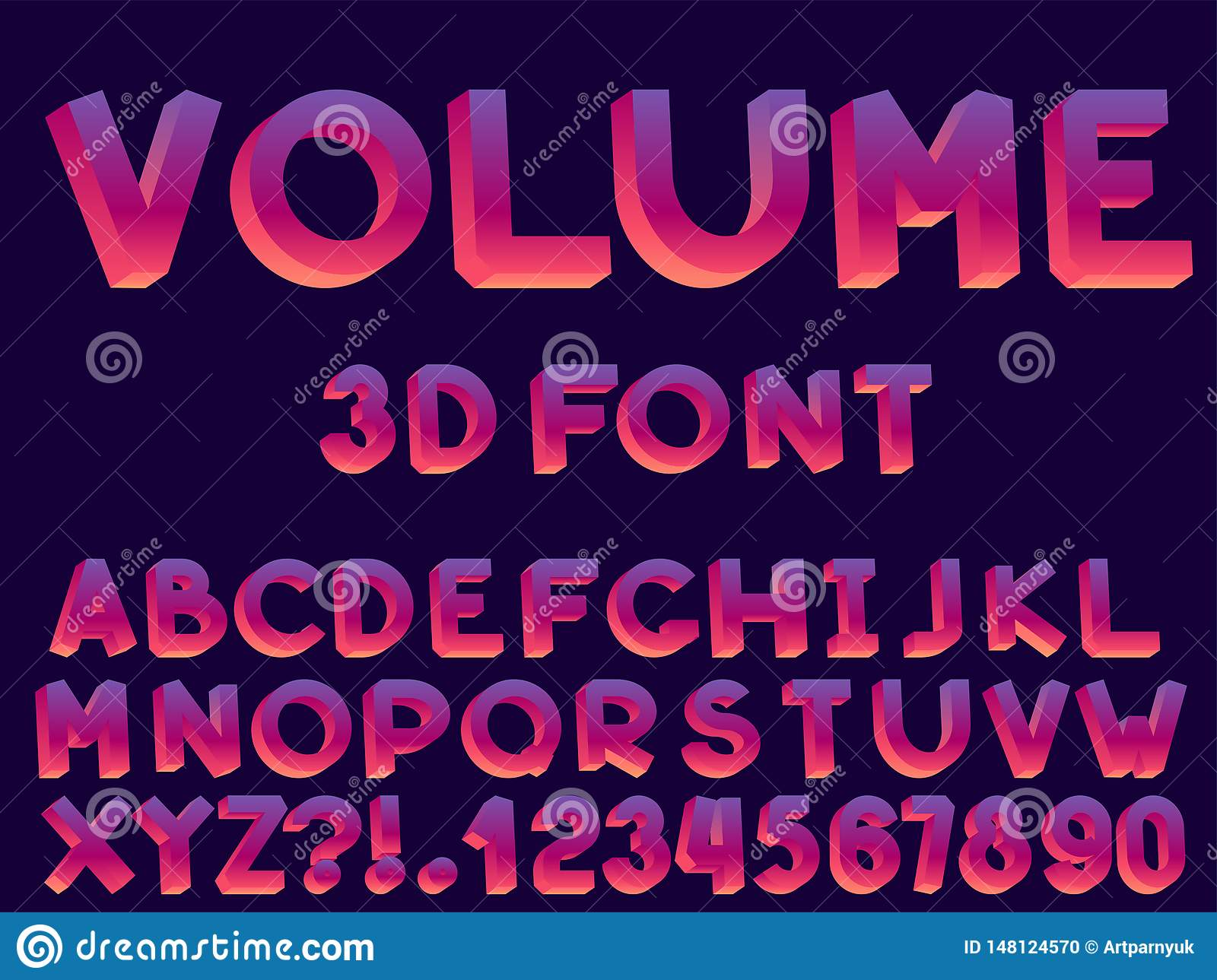 Set of vector abstract font and alphabet