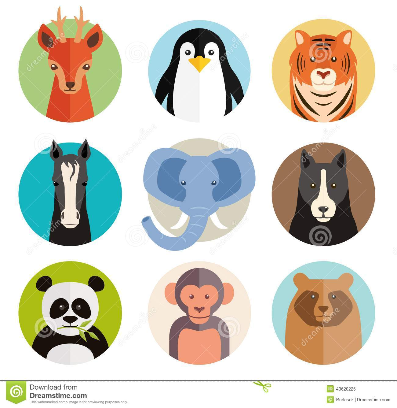 Set Of Vector Animal Icons In Round Buttons Stock Vector