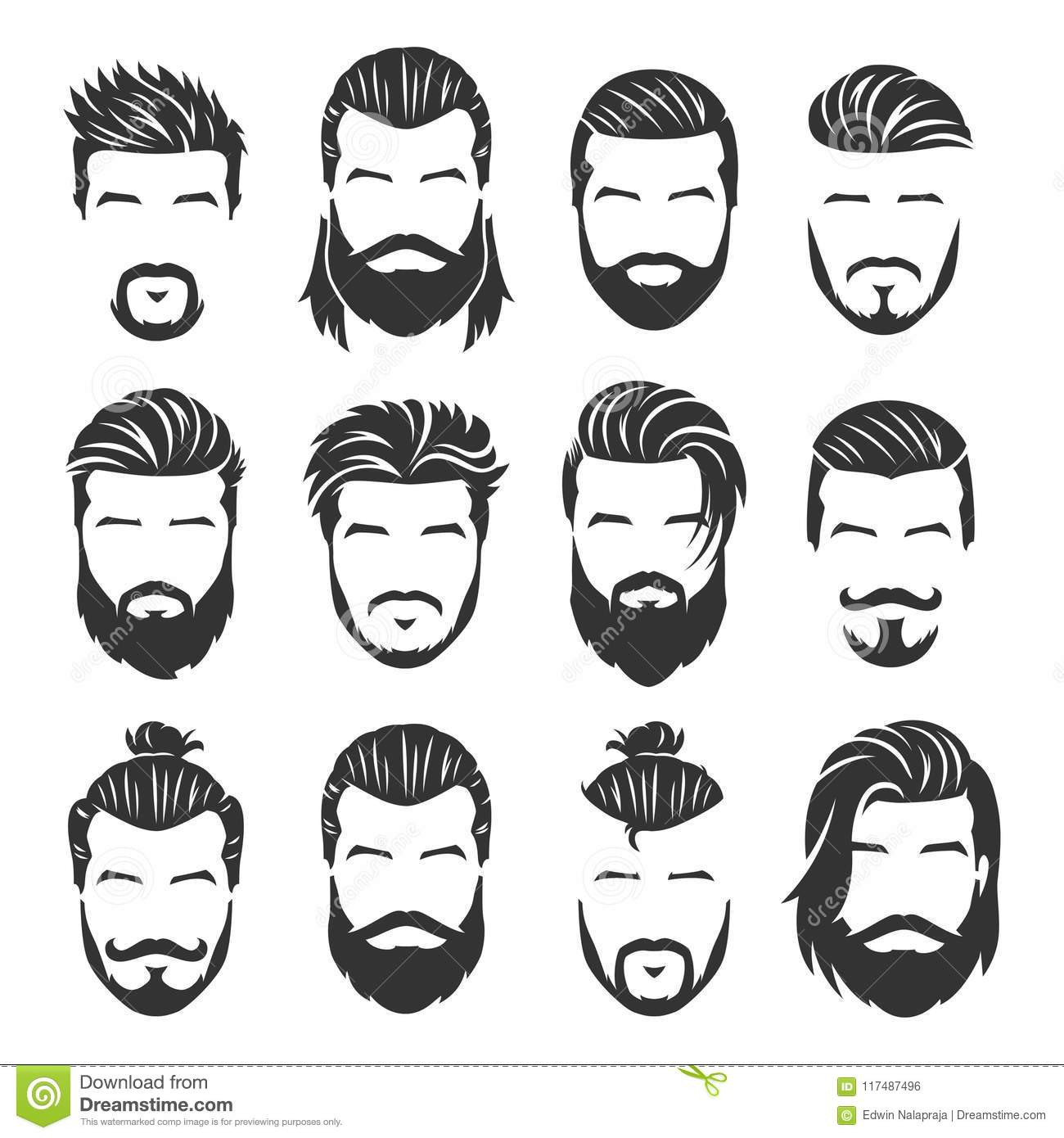 12 Set Of Vector Bearded Men Faces With Different Haircuts And Style