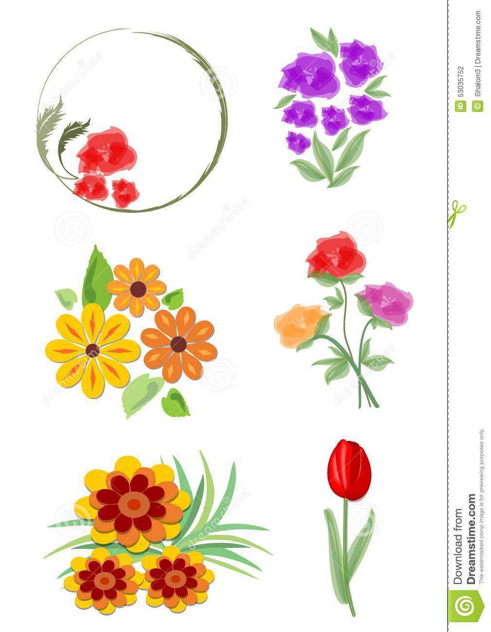 Set of vector ornaments for design cartoon vector for Small flower designs
