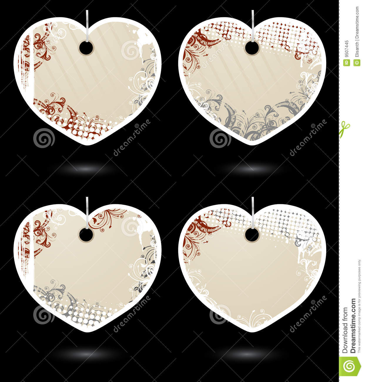 Set Of Vector Beige Heart-shaped Labels Royalty Free Stock Photo ...