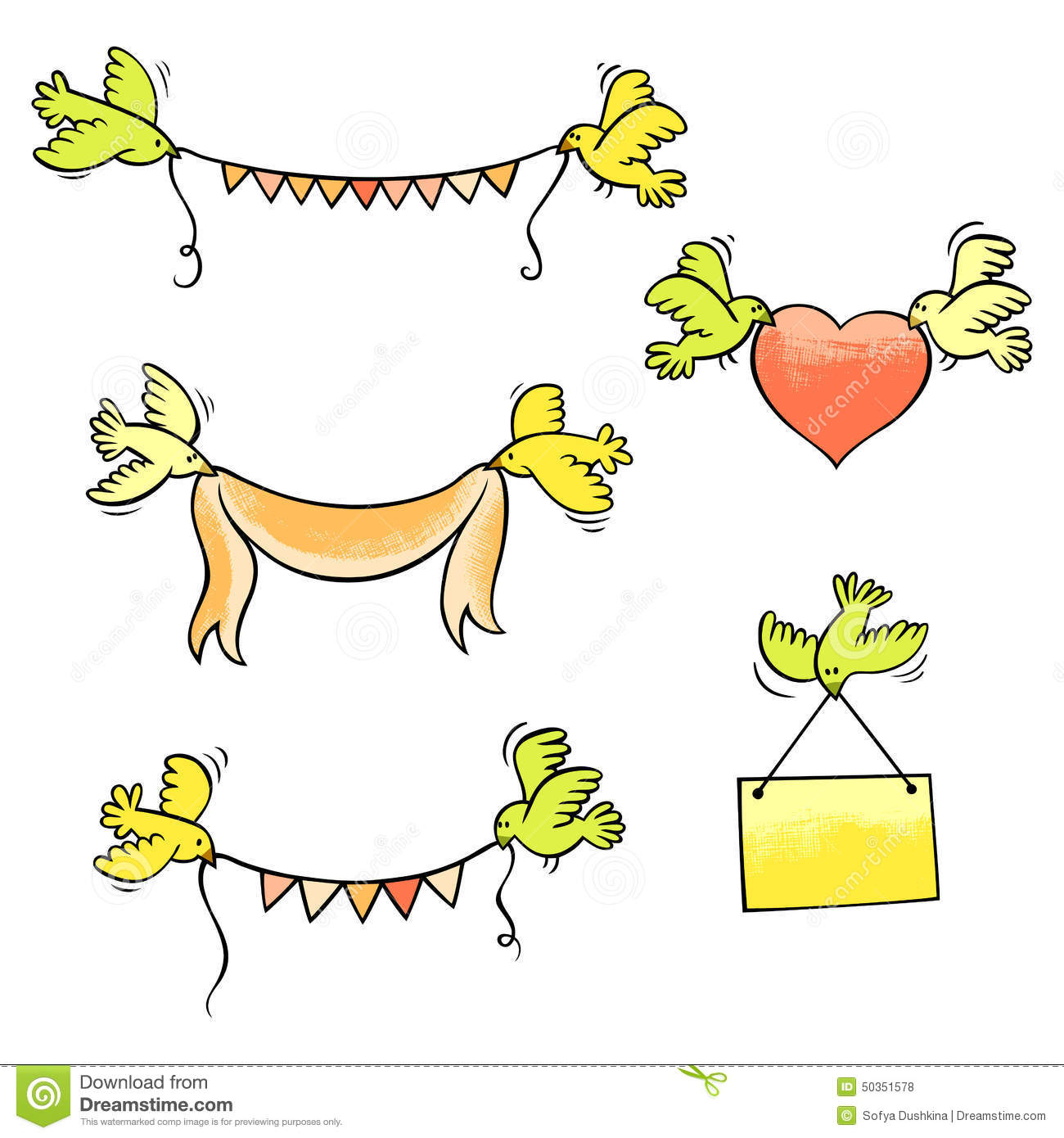set of vector birds carrying garlands, ribbon, heart and placard