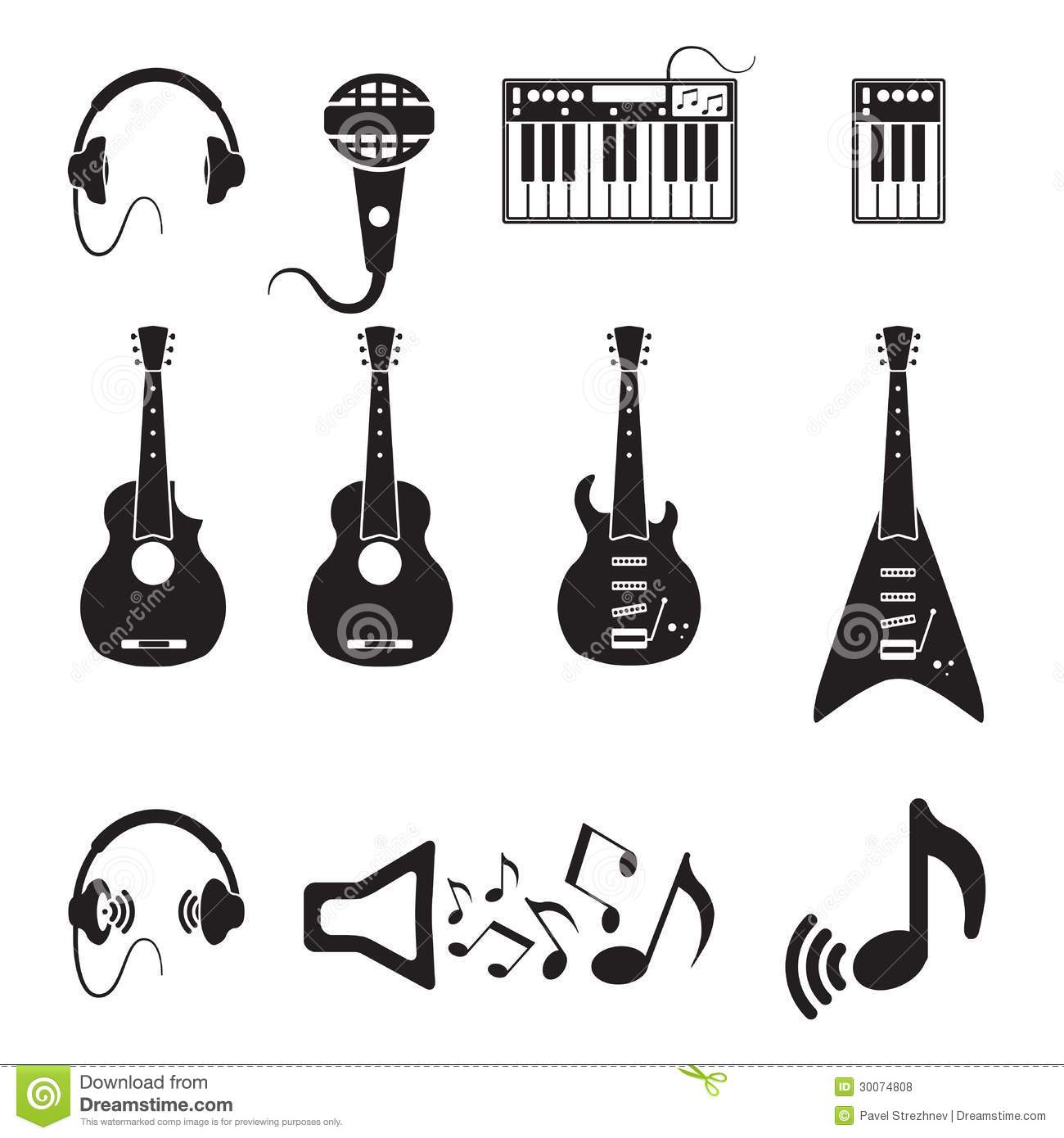 Download Set Of Vector Black Music Icons Stock Vector - Illustration of group, concert: 30074808