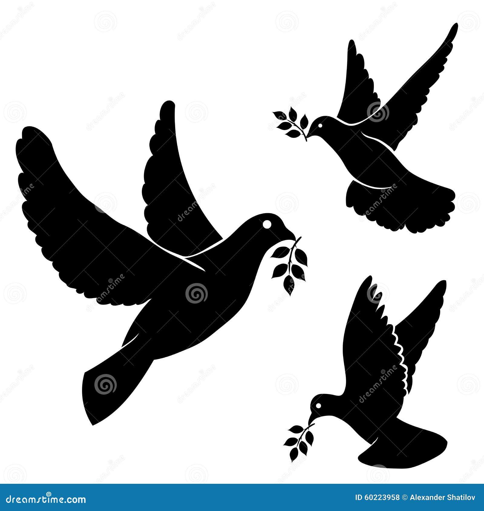 Set Vector Black Silhouette Flying Dove, Olive Stock ...