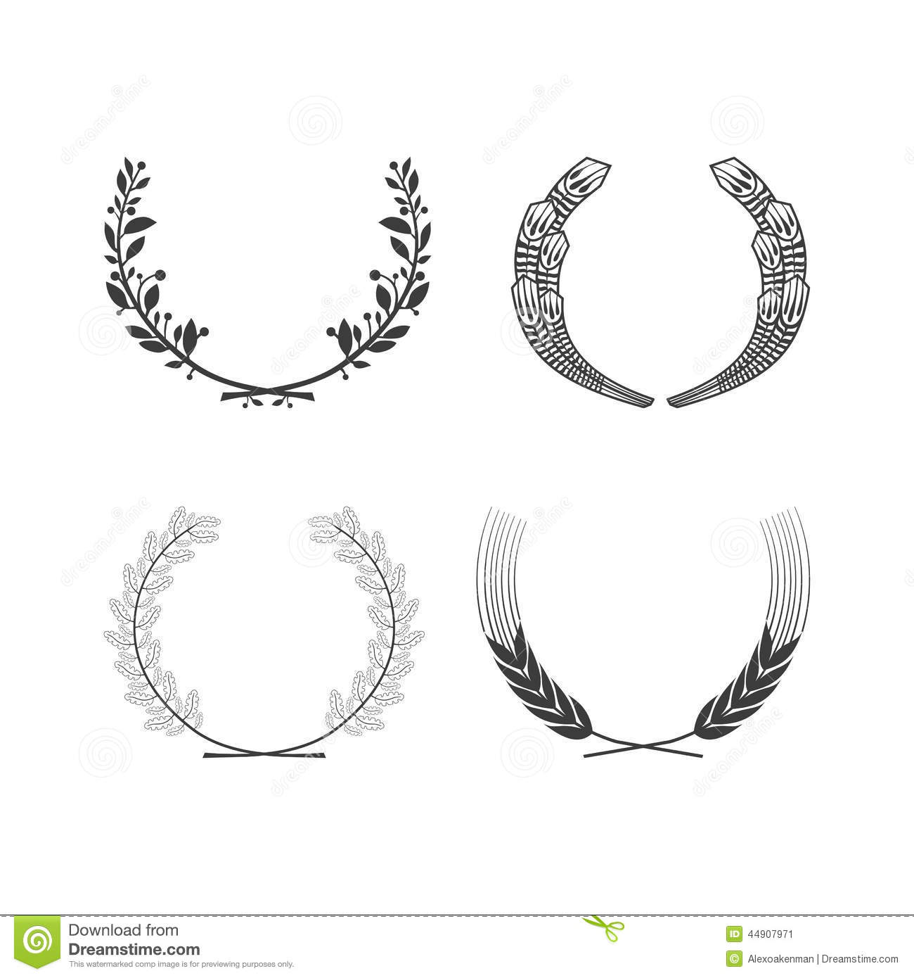 set of vector black and white circular foliate wreaths for Wheat Graphic