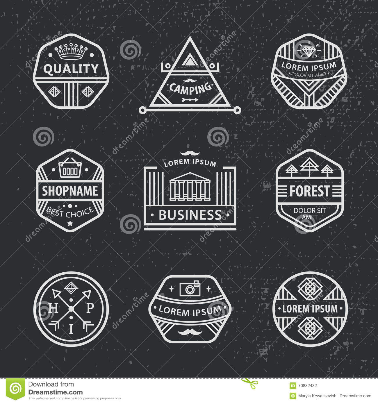 Set Of Vector Hipster Modern Labels, Icons Cartoon Vector ...