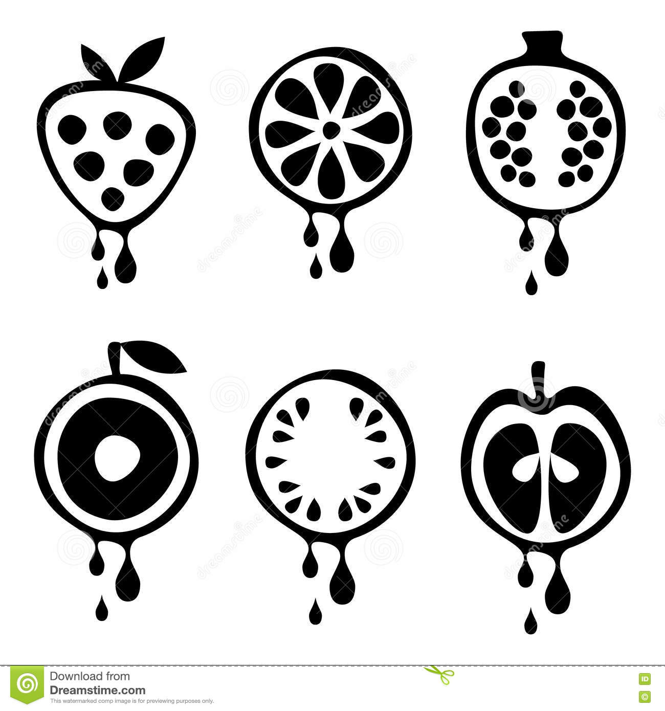 Set Of Vector Black And White Illustrations Of Fruits. Stock ... for Clipart Strawberry Black And White  104xkb