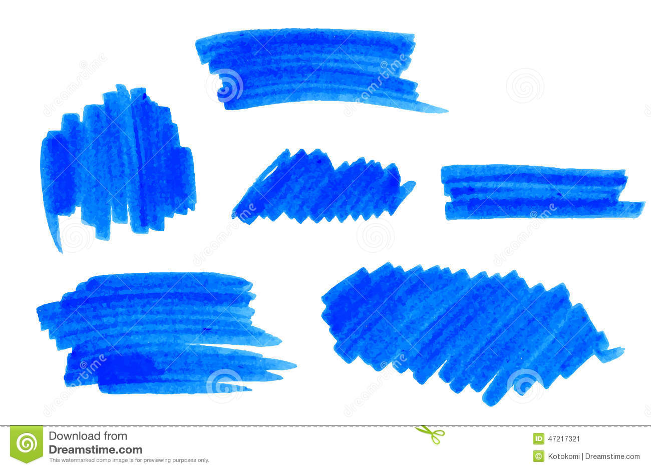 set of vector blue highlight marker strokes and stains stock vector