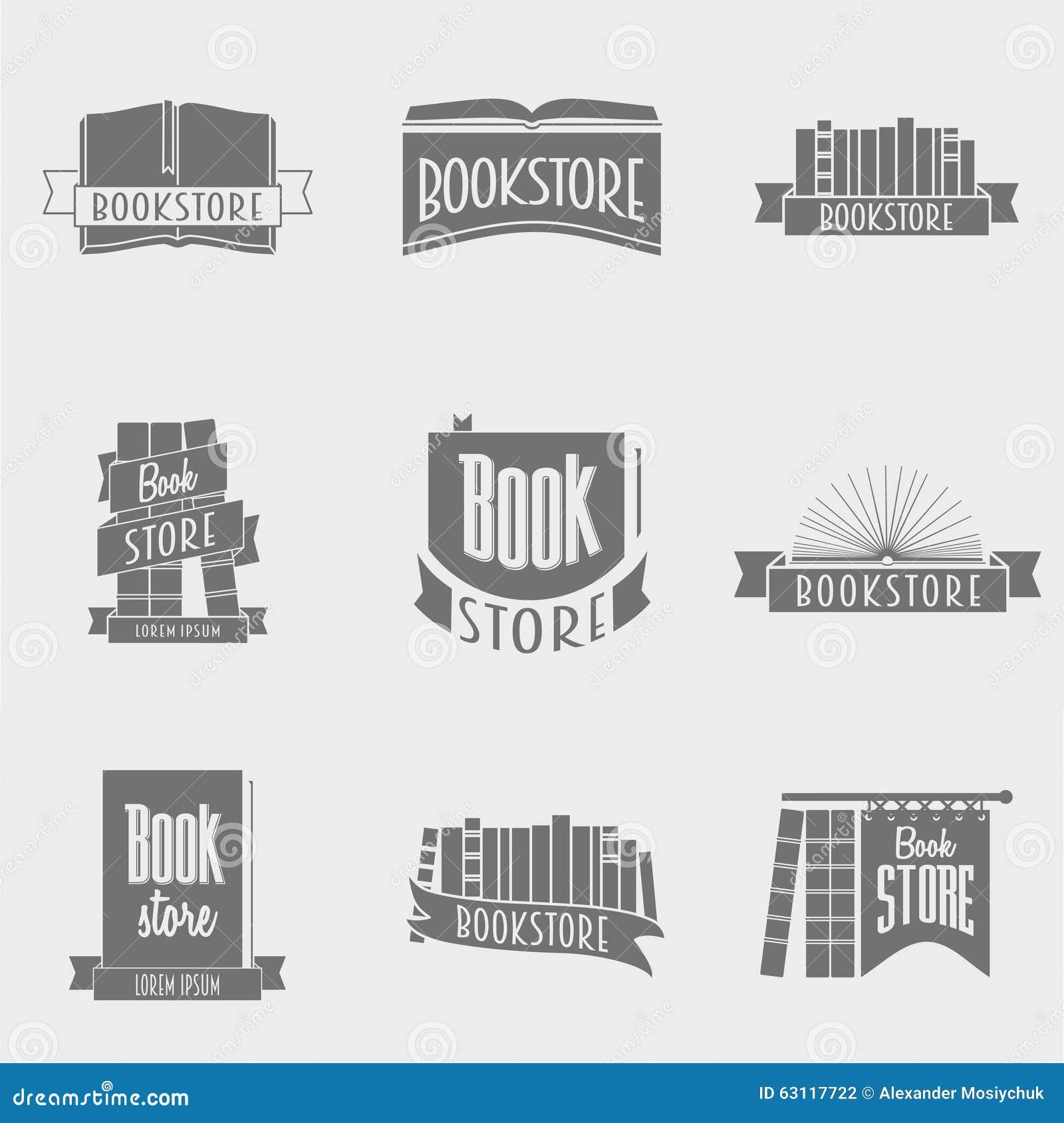 Creative Book Design Vector : Set of vector book store logo design stock image