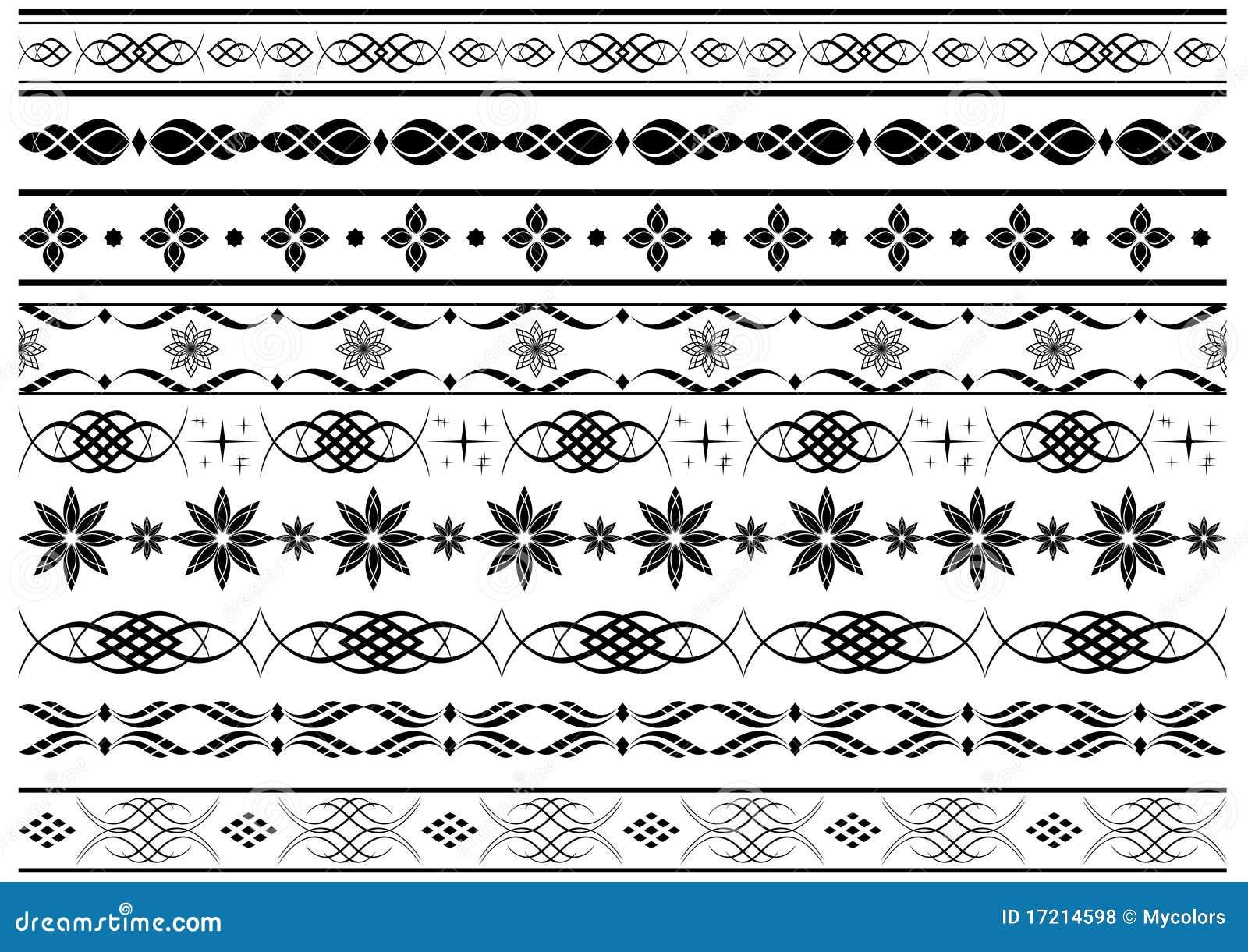 Set Of Vector Border Elements Royalty Free Stock Photos - Image ...