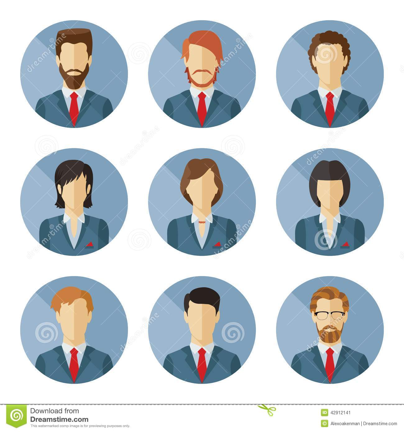 Flat Design Character Download : Set of vector business characters in flat design stock