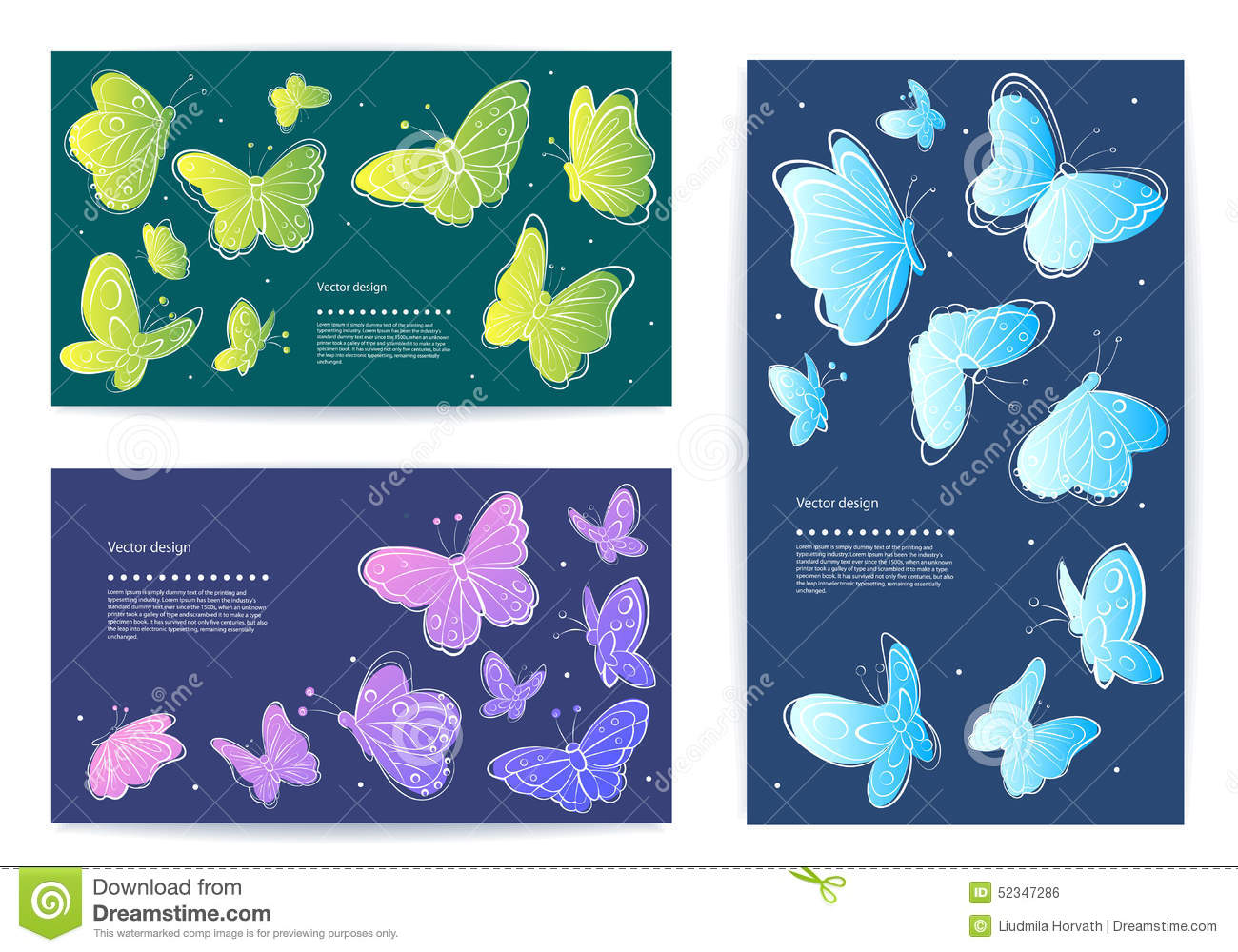 Set Of Vector Butterfly Business Cards, Banners Stock Vector ...
