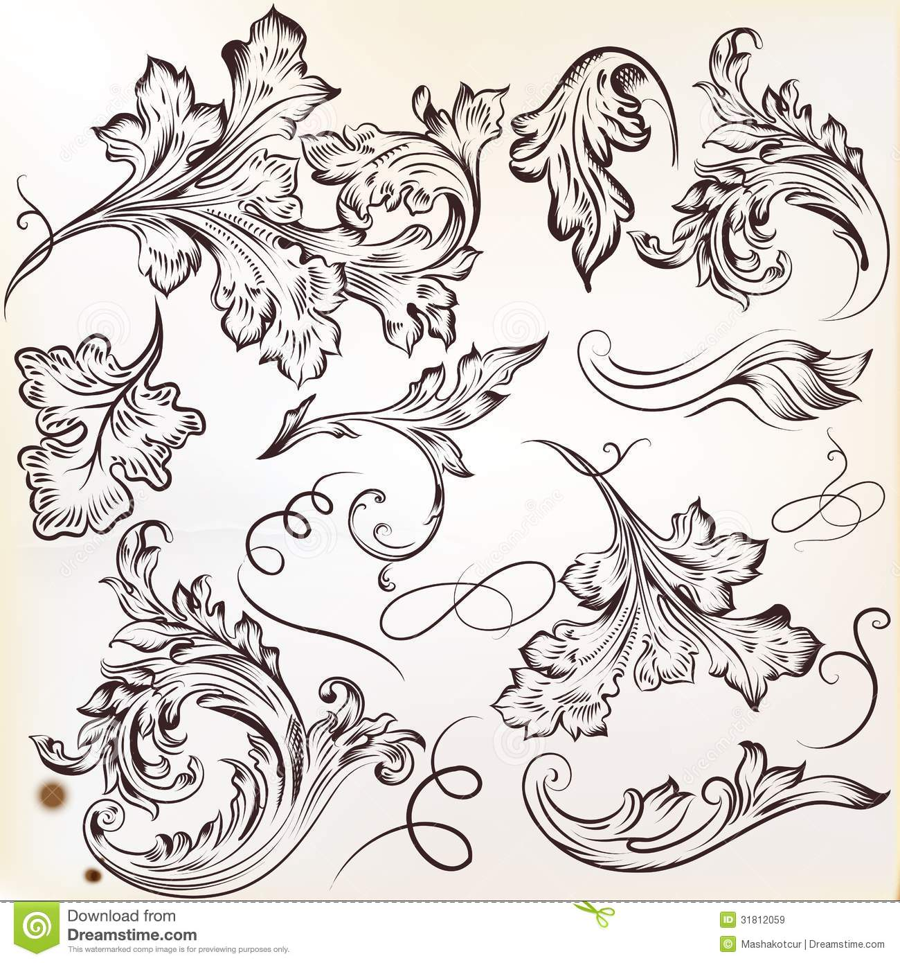Set of vector calligraphic swirl ornaments for design