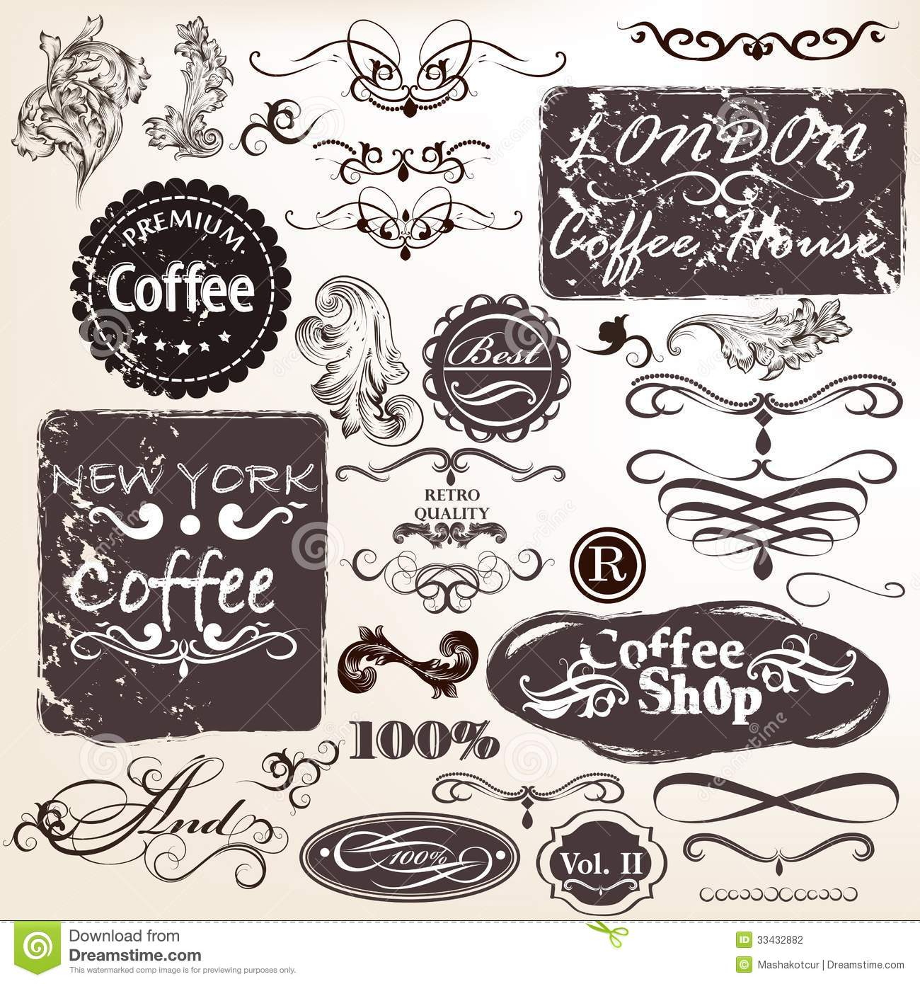 Set Vector Calligraphic Vintage Elements Labels Design Retro Typographic