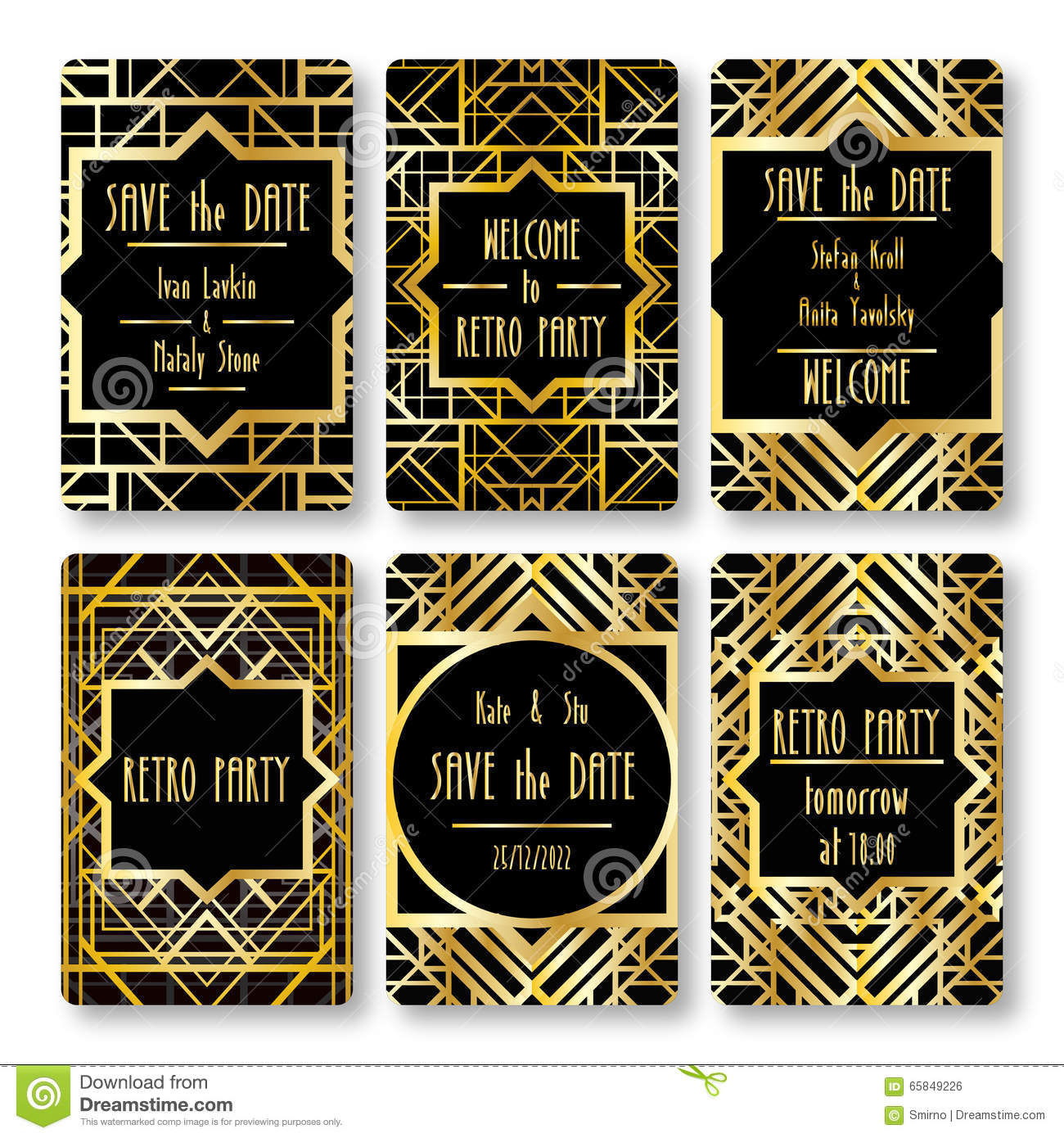 set of vector card templates in art deco style stock vector