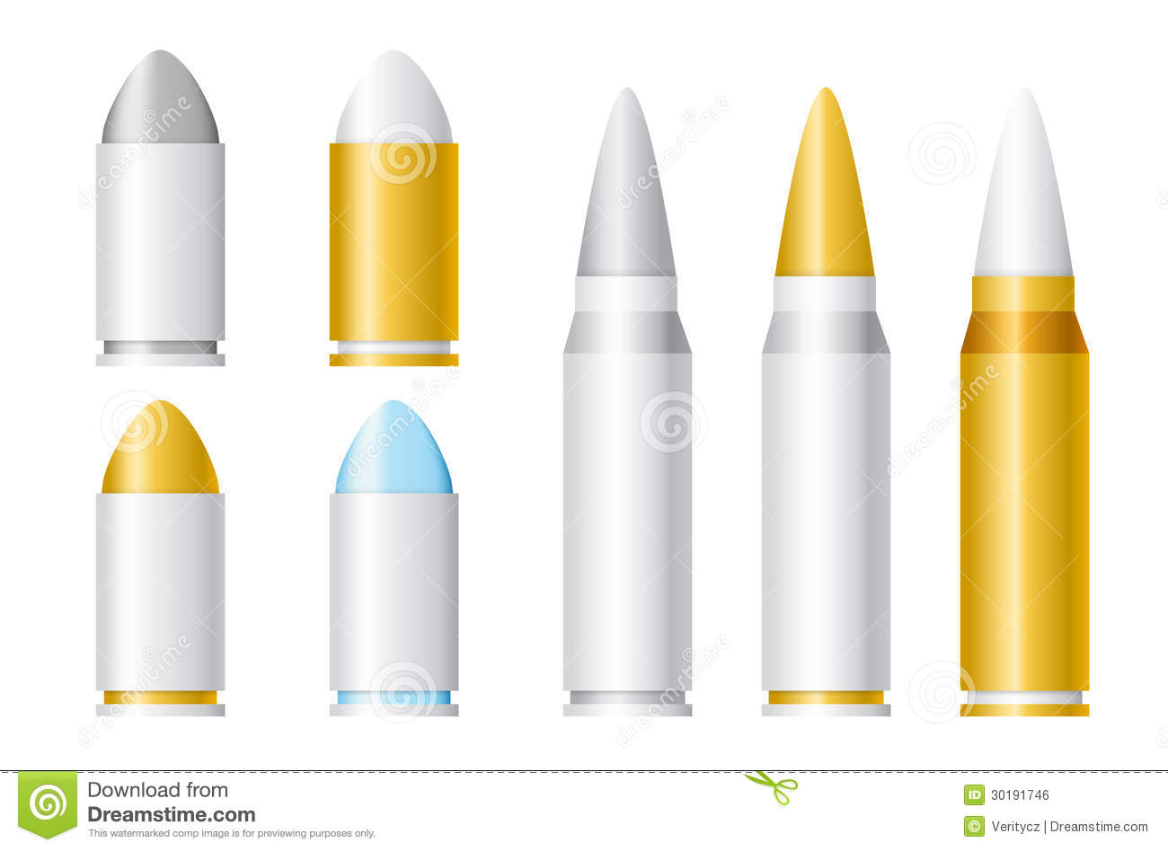 Set Of Vector Bullets Of Different Sizes Stock Vector ... Ammunition Sizes