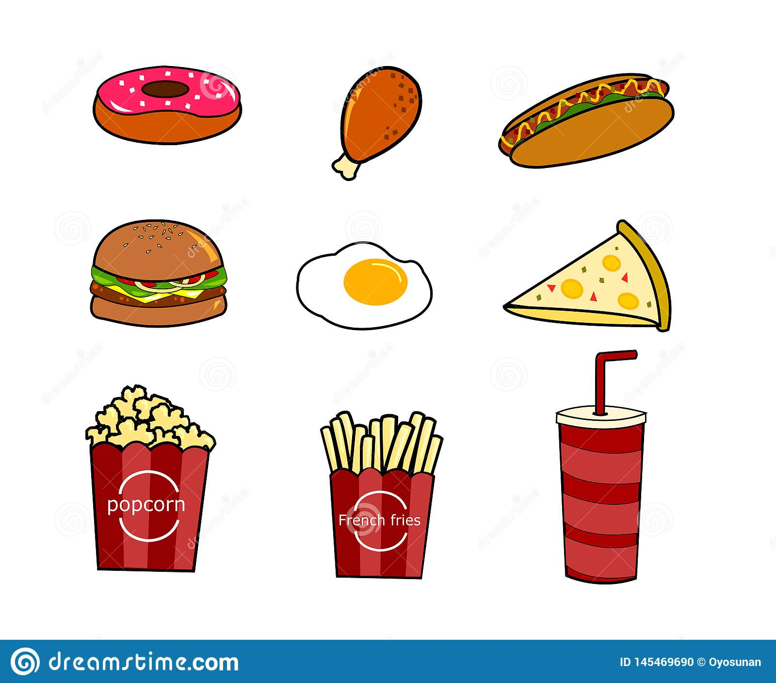 Set Of Vector Cartoon Doodle Icons Junk Food Stock