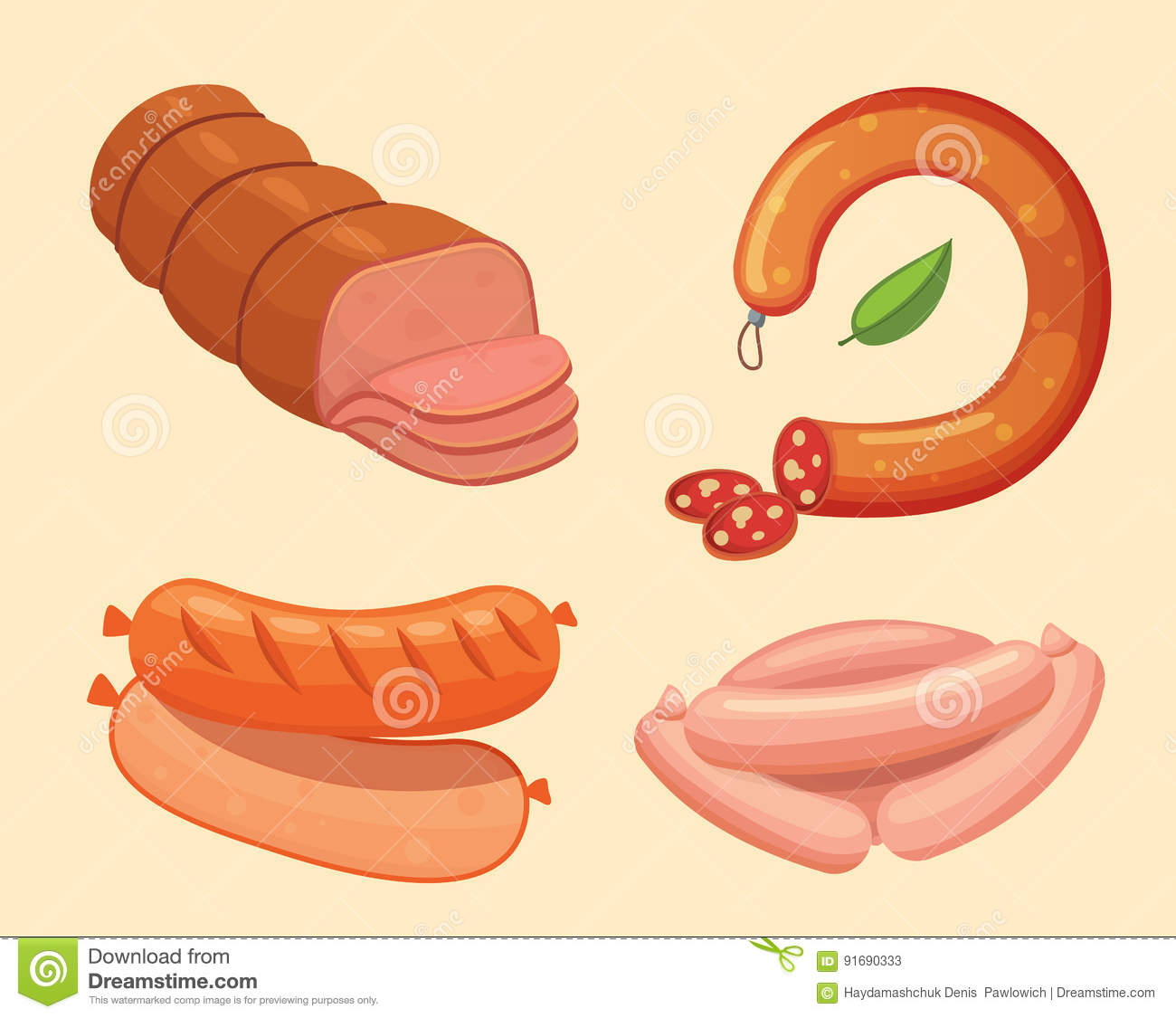 Set of vector cartoon sausage. Bacon, sliced Salami and Smoked Boiled. fresh Delicatessen icons. Grilled