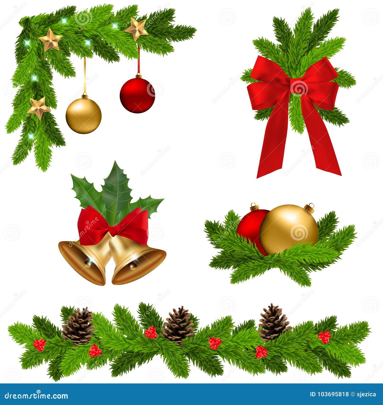 Set Of Vector Christmas Decorations Stock Vector Illustration Of Branch Balls 103695818