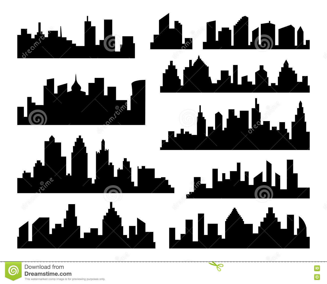 Set Of Vector Cities Silhouette. Black City Icons On White ...