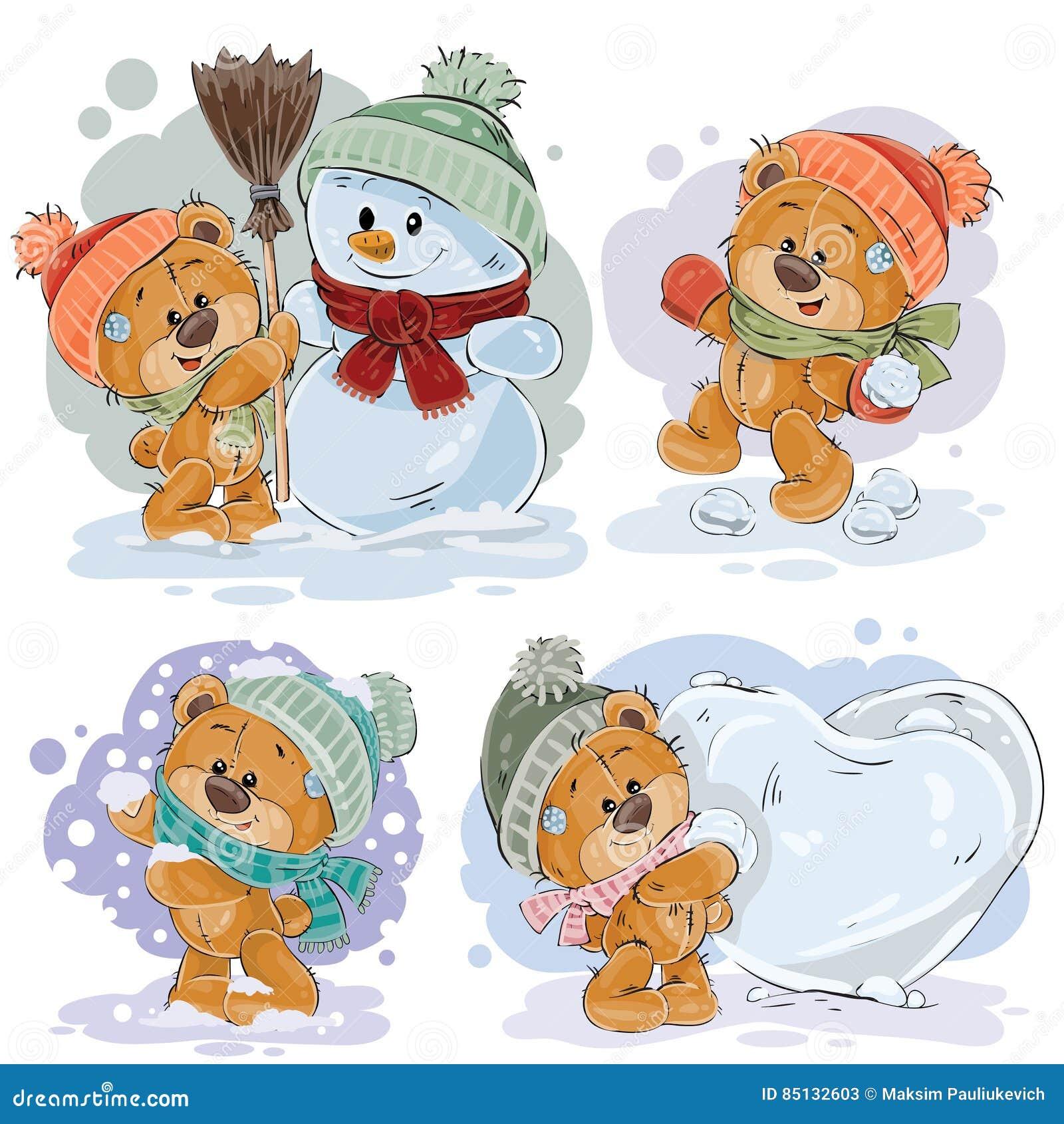 Set vector clip art illustrations of funny teddy bears