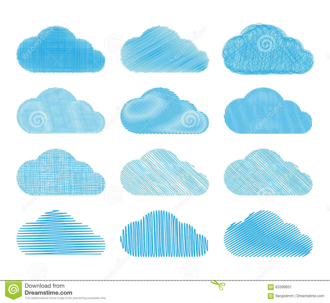 Set Of Vector Clouds With Different Types Of Pencil Shading Stock Vector Illustration Of Dialog Texture 63399931