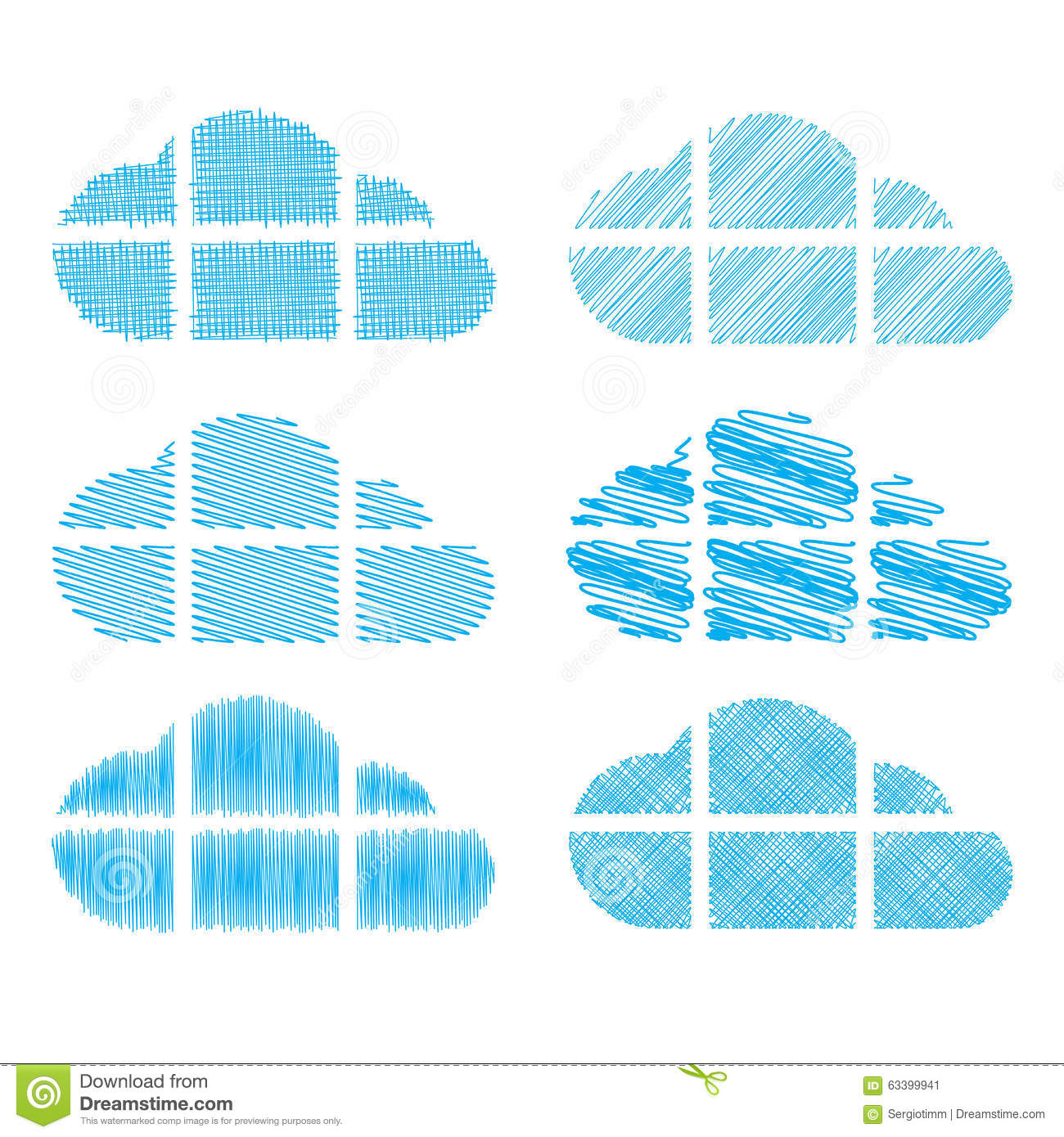Set Of Vector Clouds In The Form Of Windows With Different Types Of Pencil Shading Stock Vector Illustration Of Element Doodle 63399941