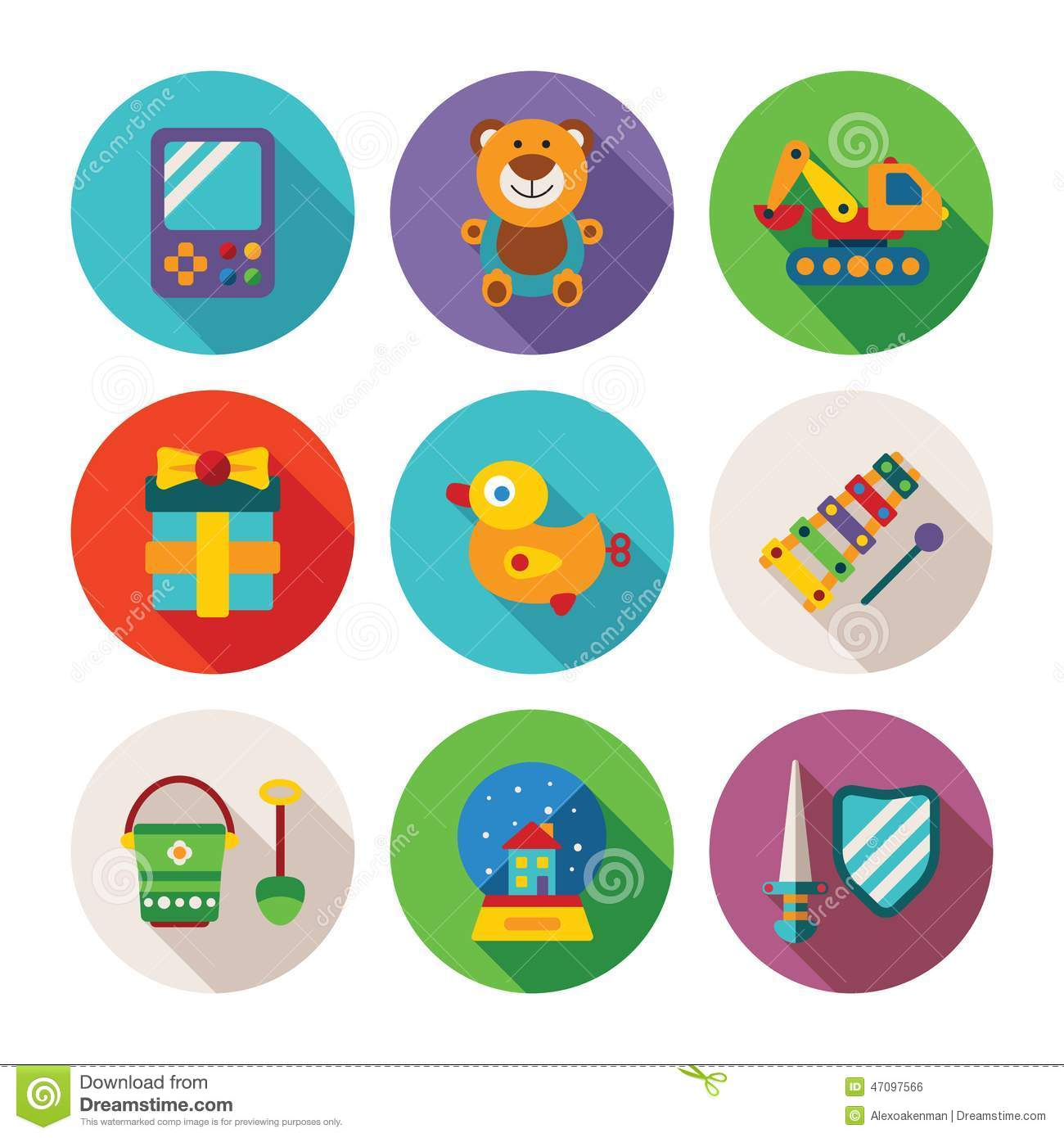 Set Of Vector Colorful Kids Toys Icons In Flat Style Stock