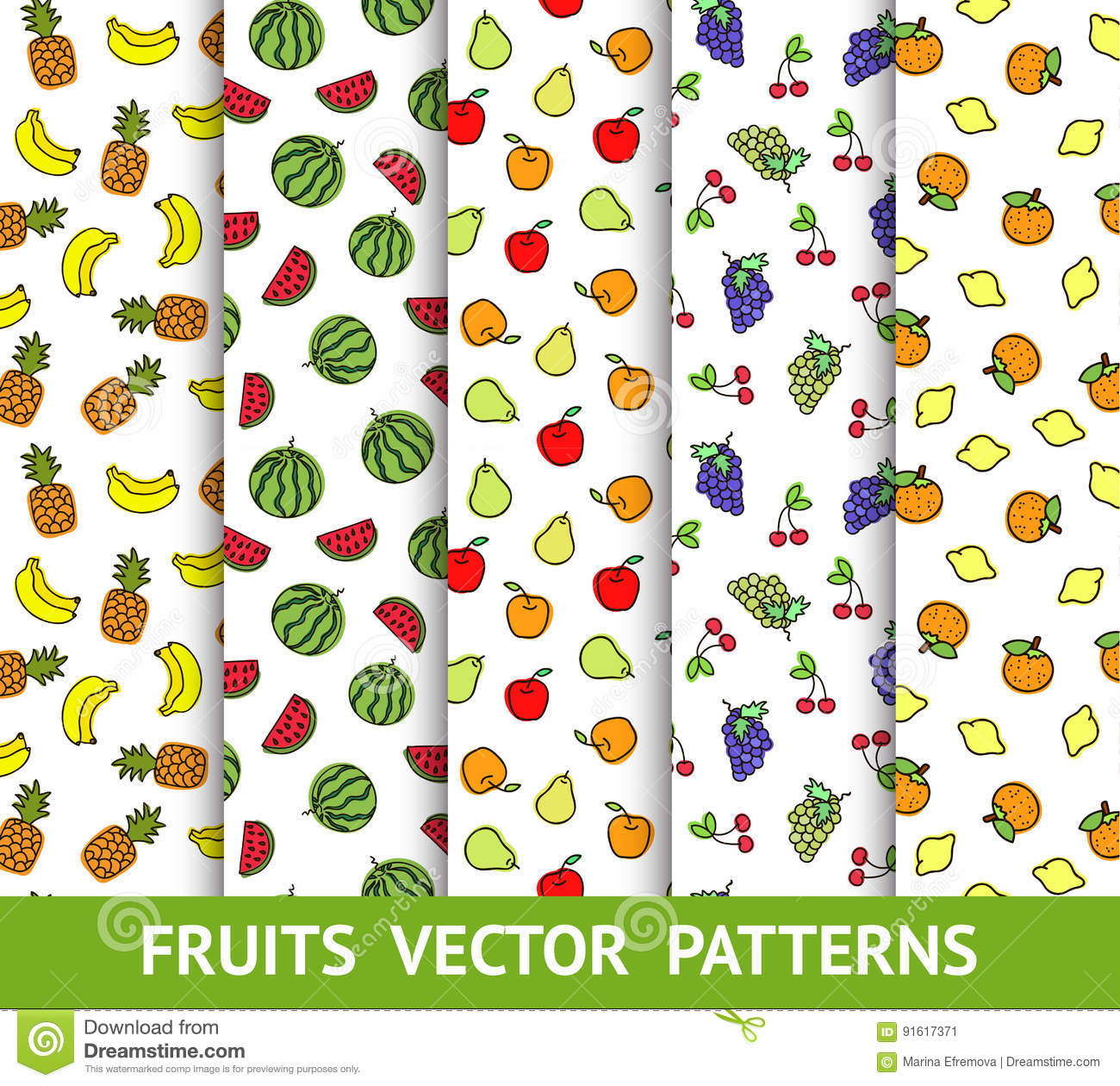 Set Of Vector Colorful Seamless Patterns With Different Fruits