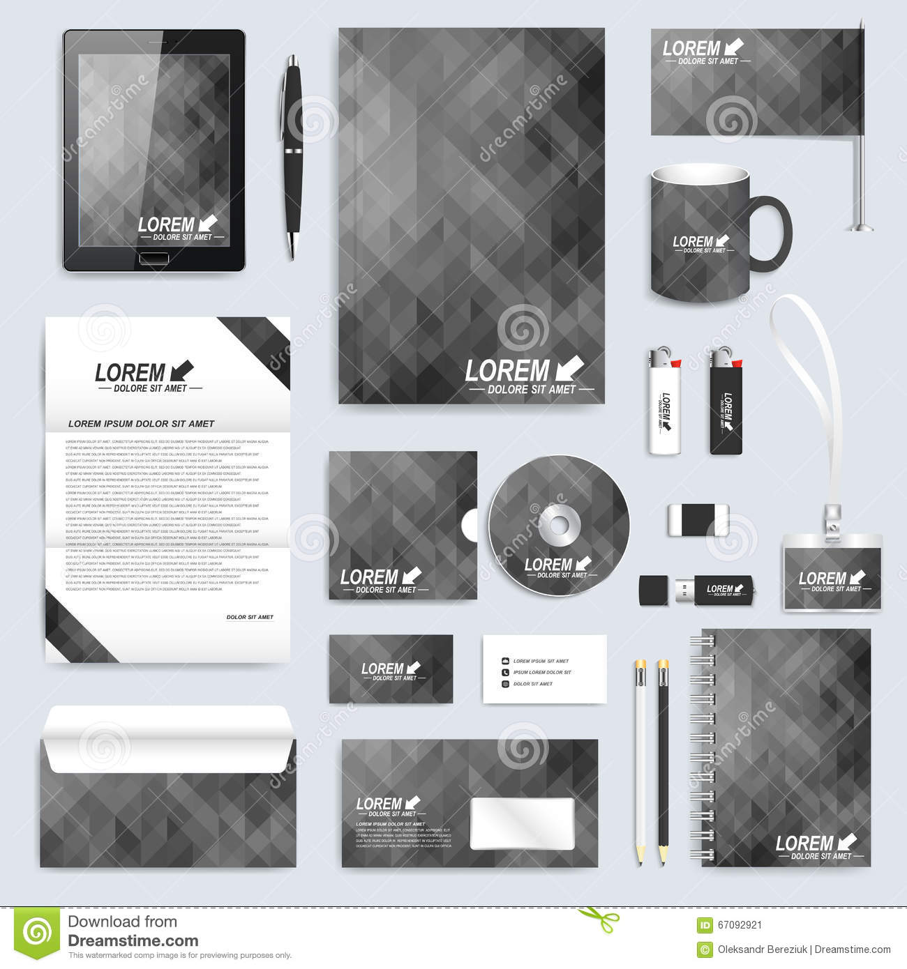 Blank Stationery And Corporate Identity Template Consist: Black Blank Set Of Vector Corporate Identity Template