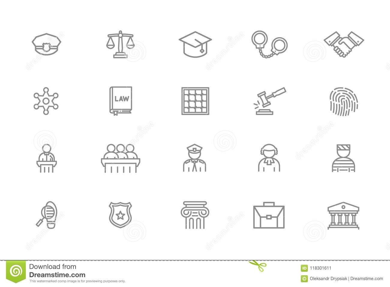 Set Of Vector Crime Law Police And Justice Line Icons Sheriff