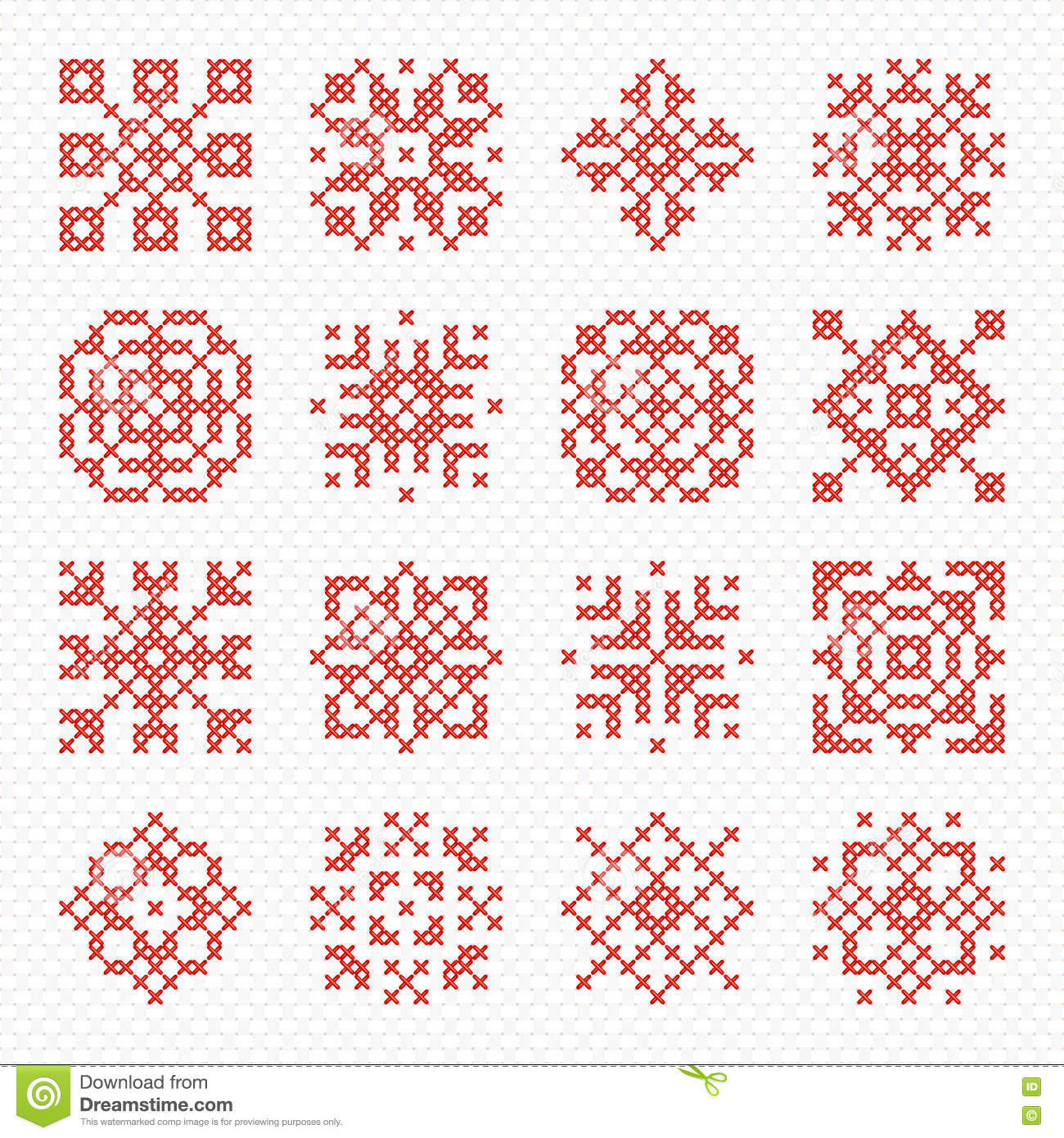 Set Of Vector Cross Stitch Snowflakes And Flowers. Stock Vector ...