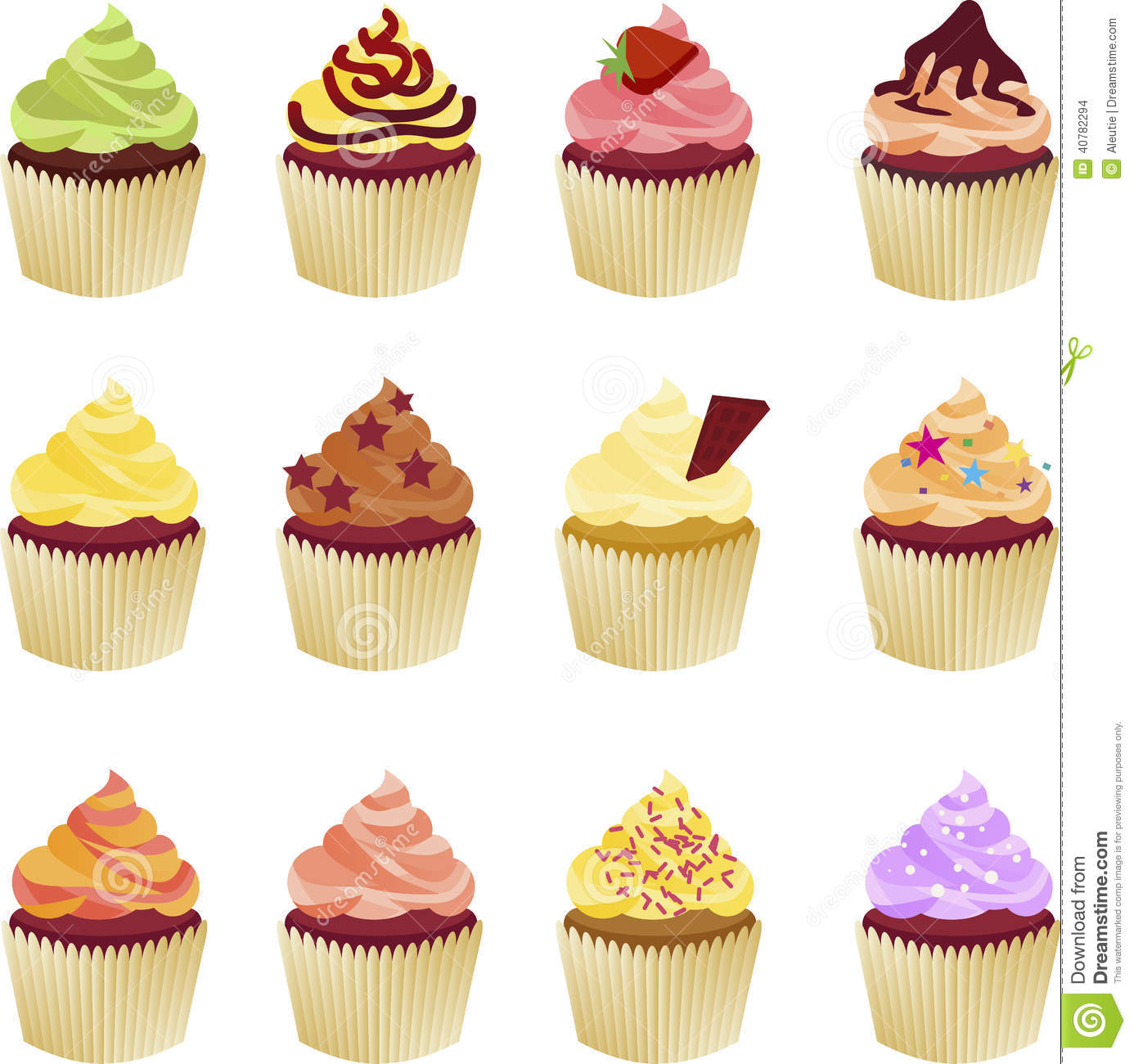 Cake Art Flavours : Set Of Vector Cupcakes Stock Vector - Image: 40782294